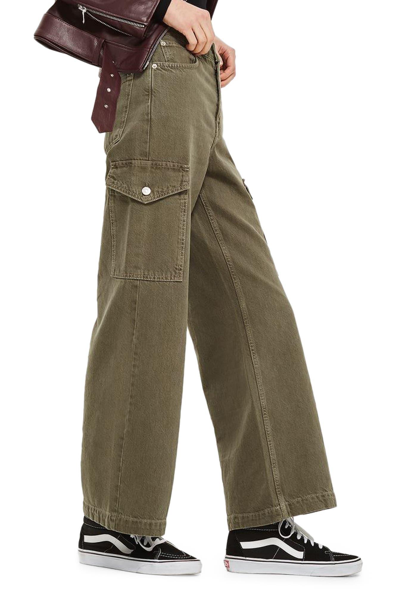 Wide Leg Crop Cargo Jeans,                             Alternate thumbnail 3, color,                             300