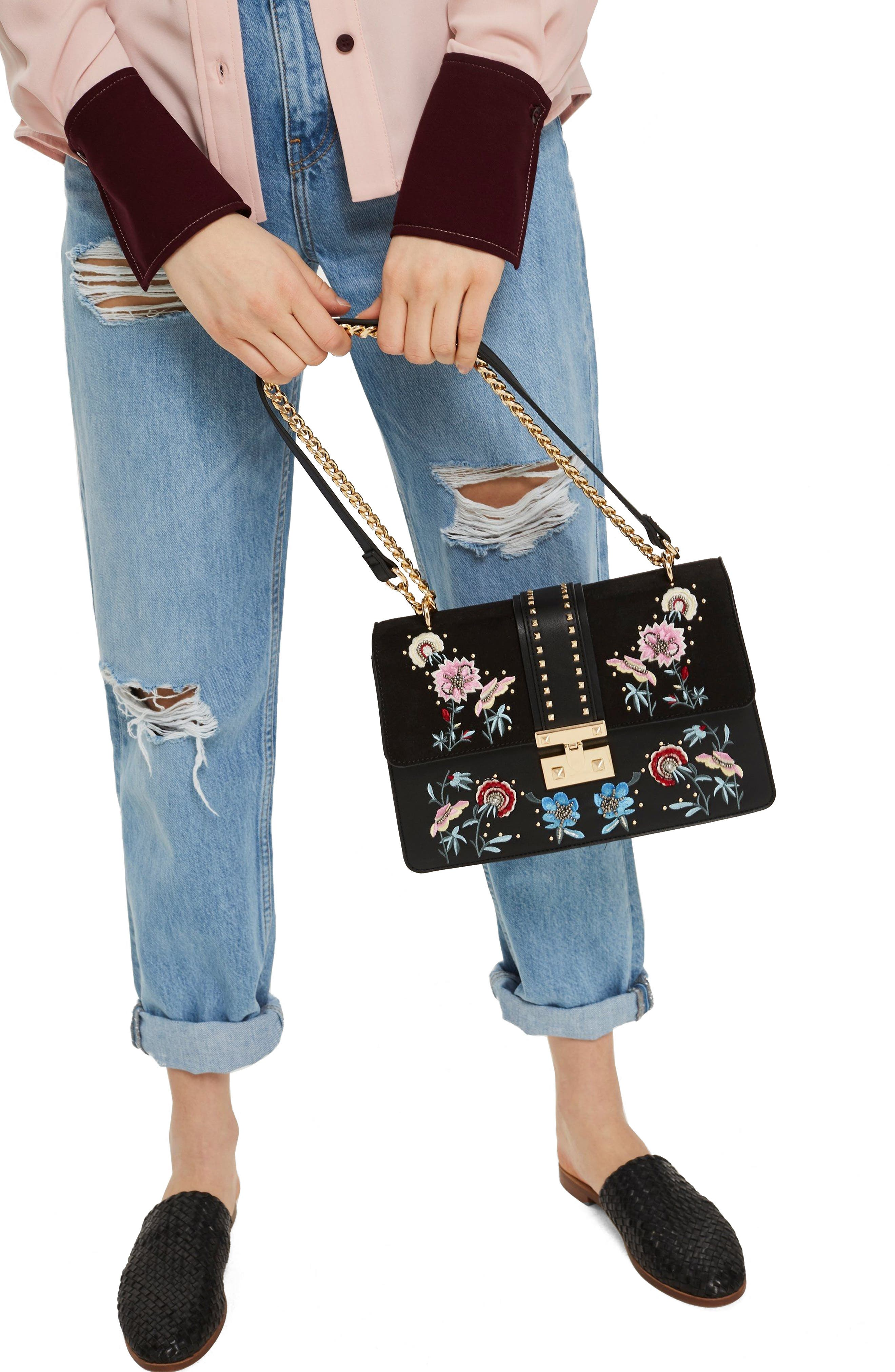 Darcy Floral Shoulder Bag,                             Alternate thumbnail 3, color,                             001