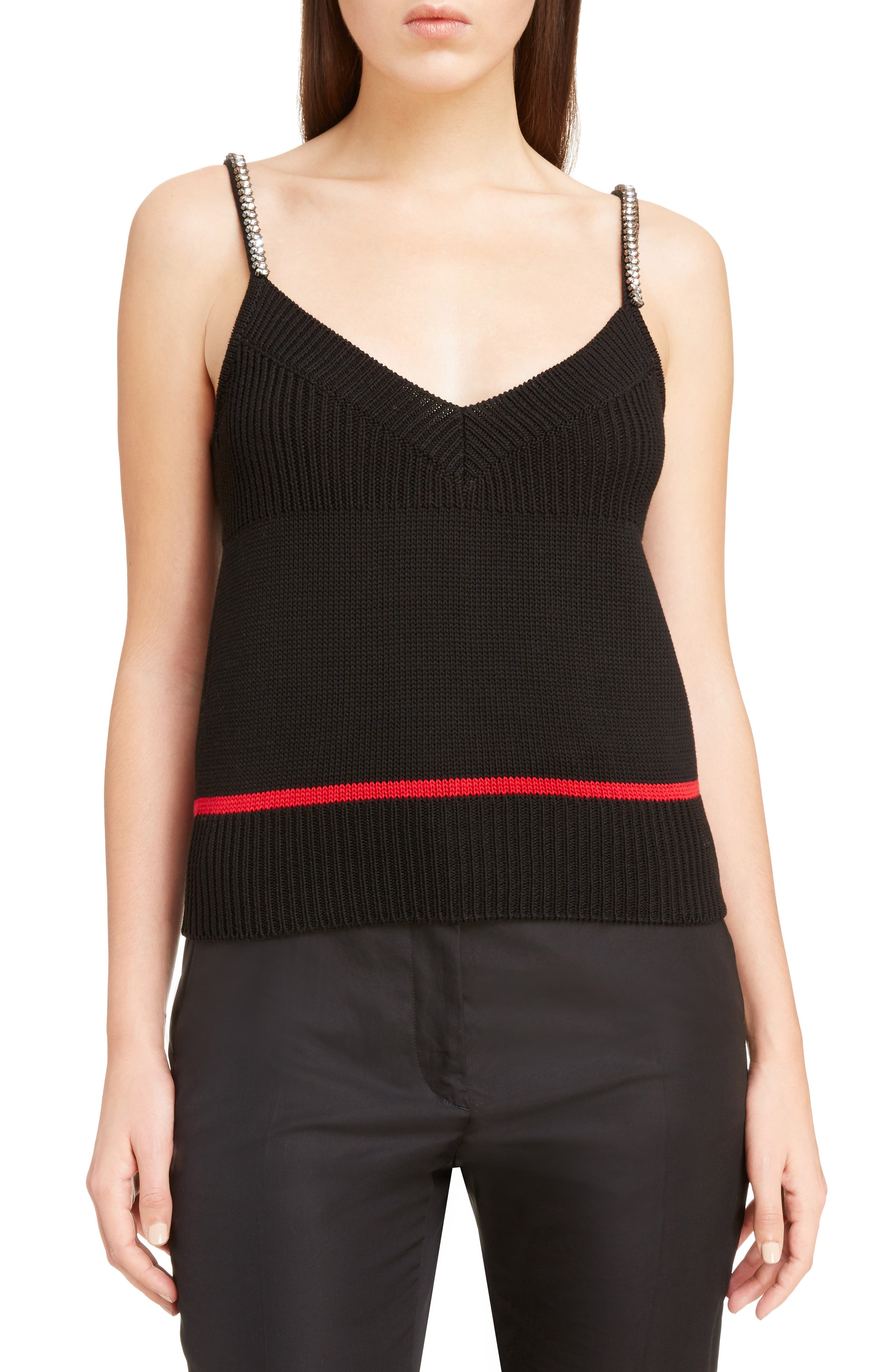 Crystal Embellished Knit Camisole,                             Main thumbnail 1, color,                             001