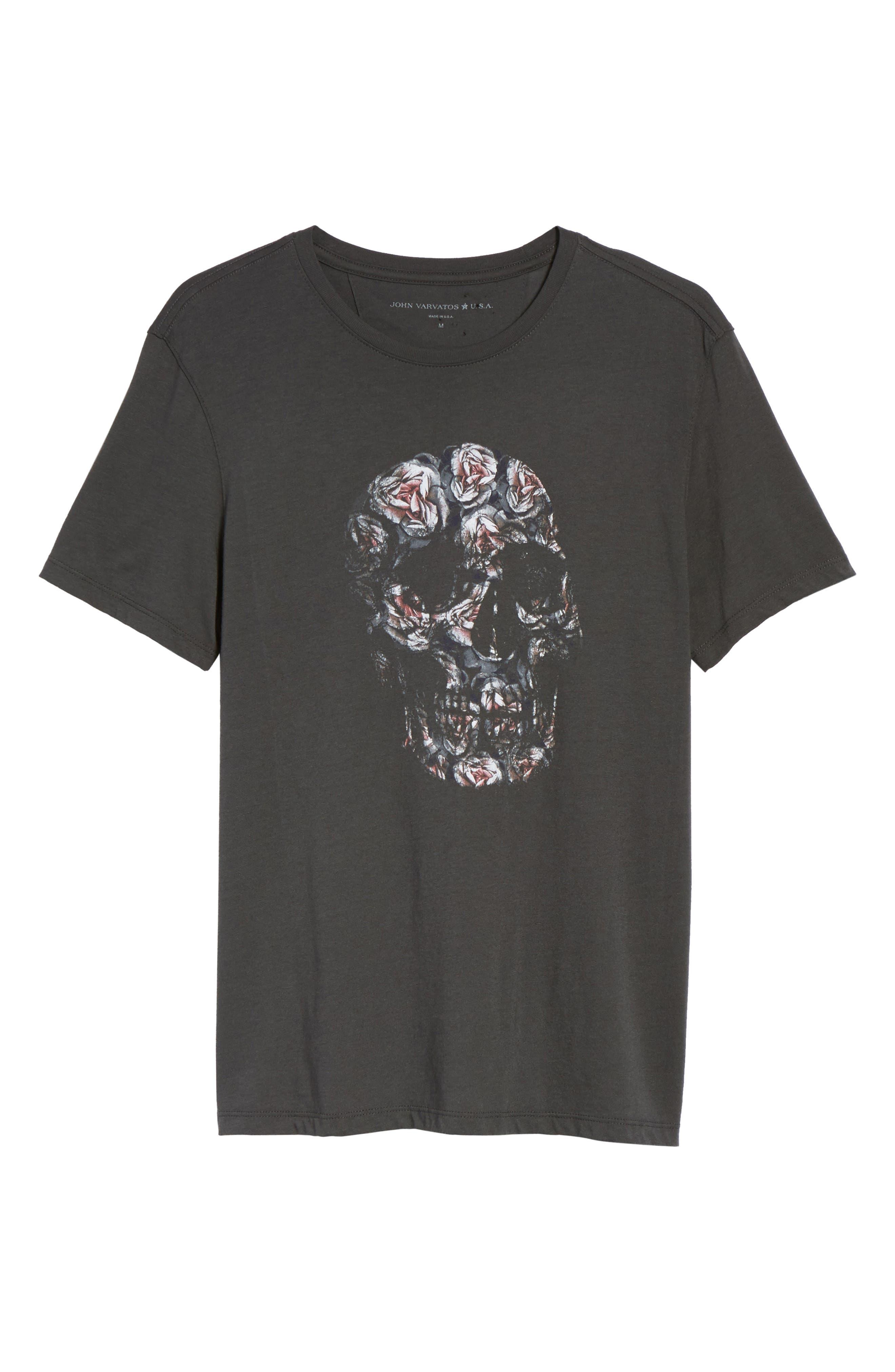 John Varvatos Floral Skull Graphic T-Shirt,                             Alternate thumbnail 6, color,                             001