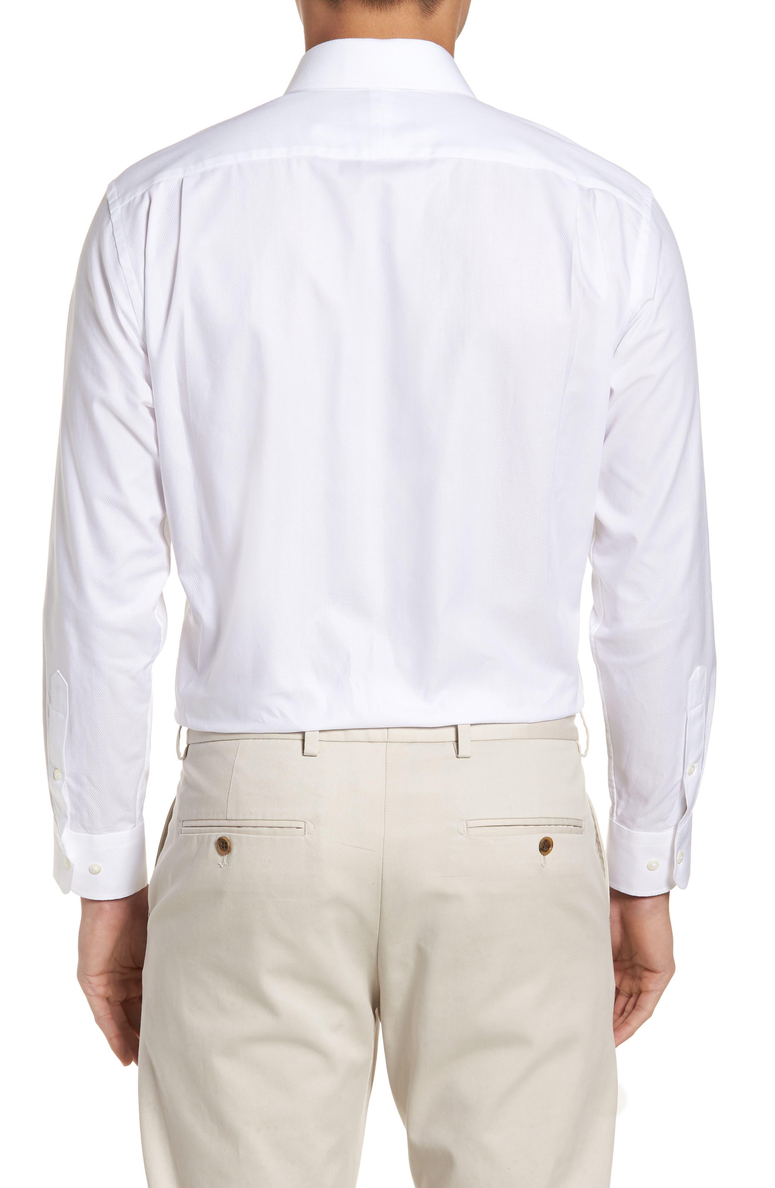 Trim Fit Herringbone Dress Shirt,                             Alternate thumbnail 3, color,                             WHITE