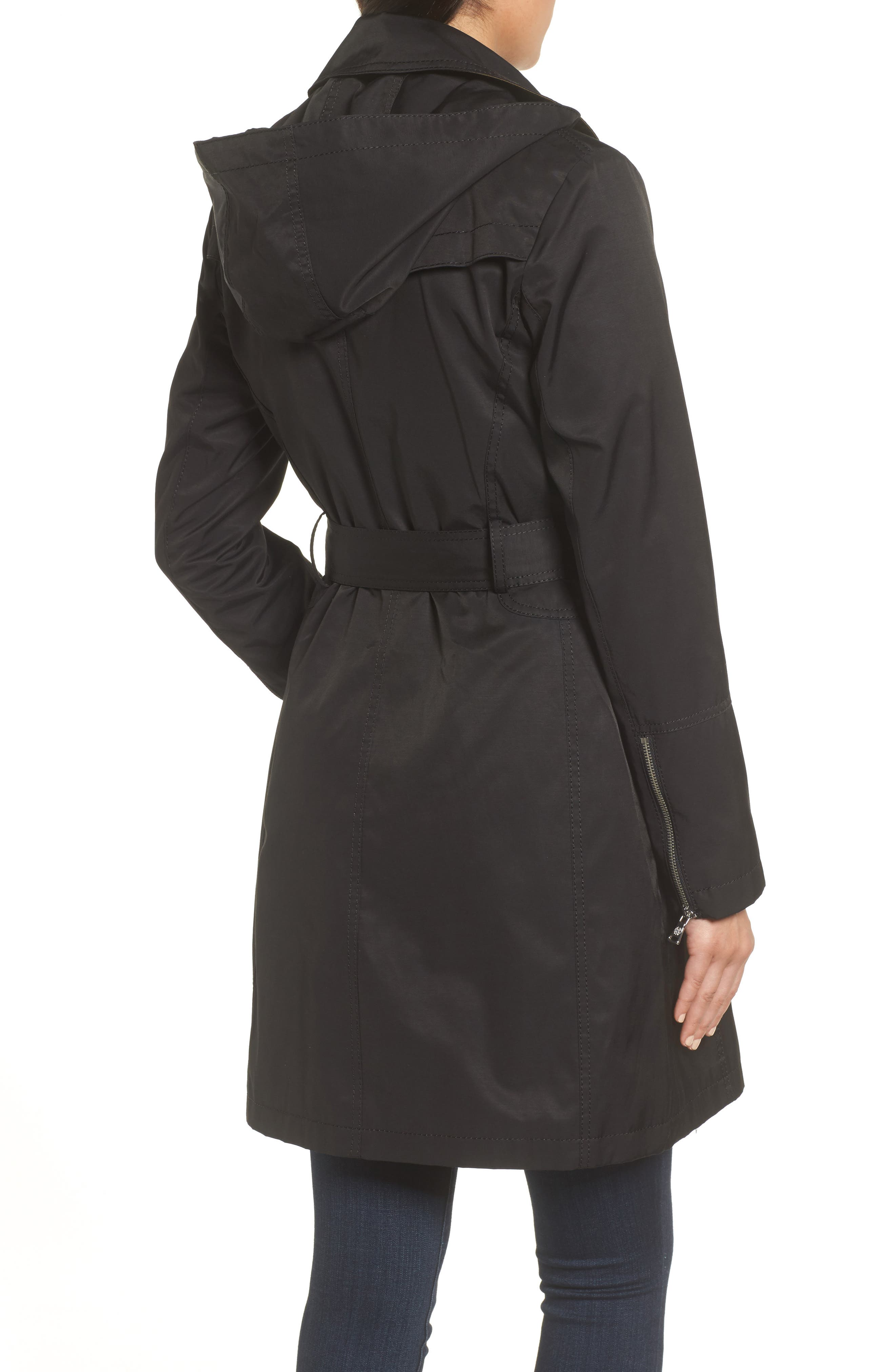 Belted Asymmetrical Trench Coat,                             Alternate thumbnail 4, color,