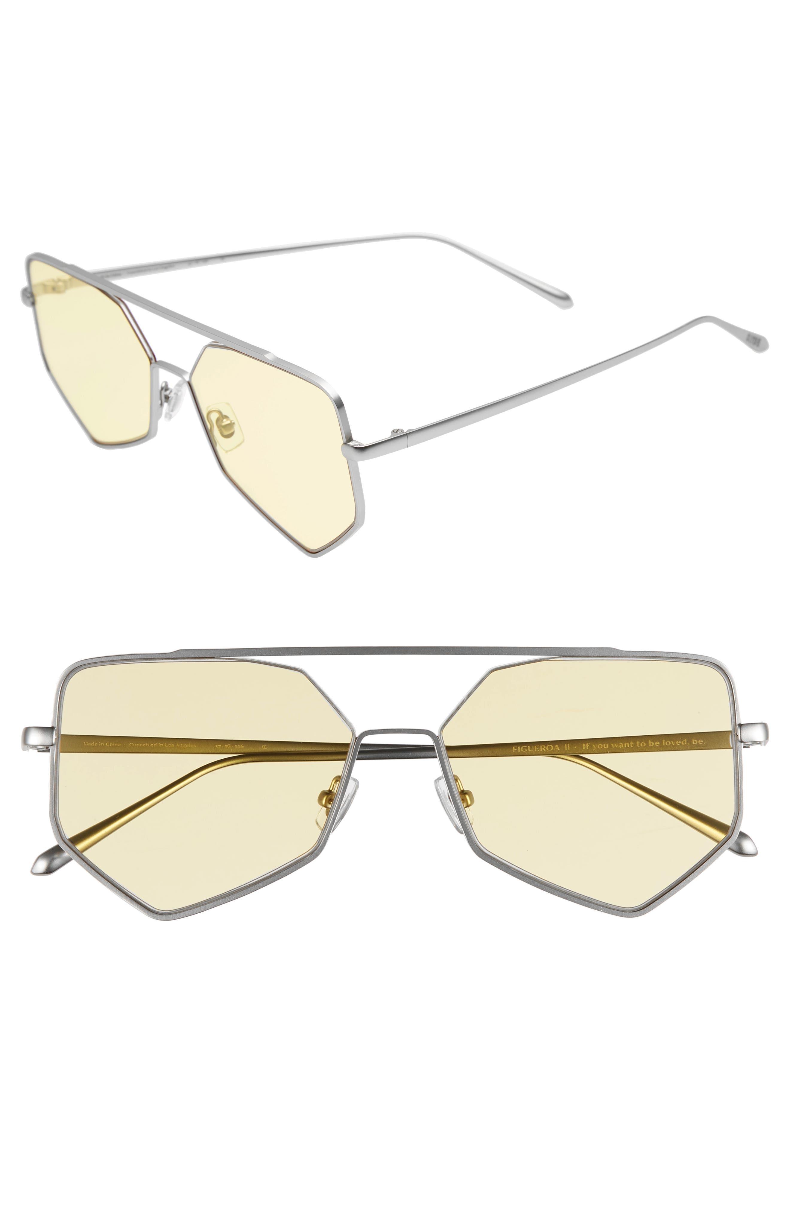 Bonnie Clyde Figueroa Ii 57Mm Aviator Sunglasses - Yellow