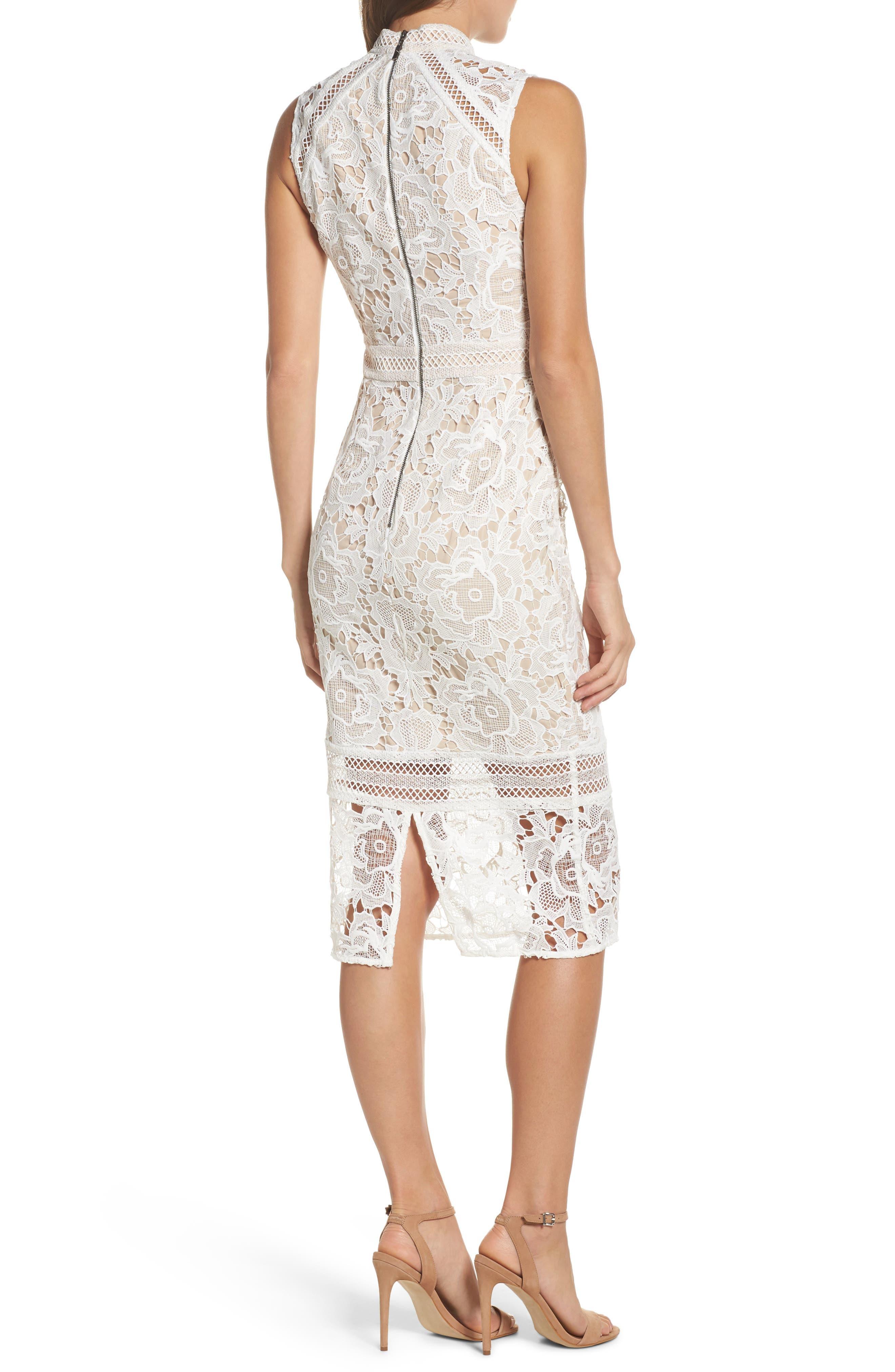 Alessandra Lace Choker Midi Dress,                             Alternate thumbnail 2, color,                             100