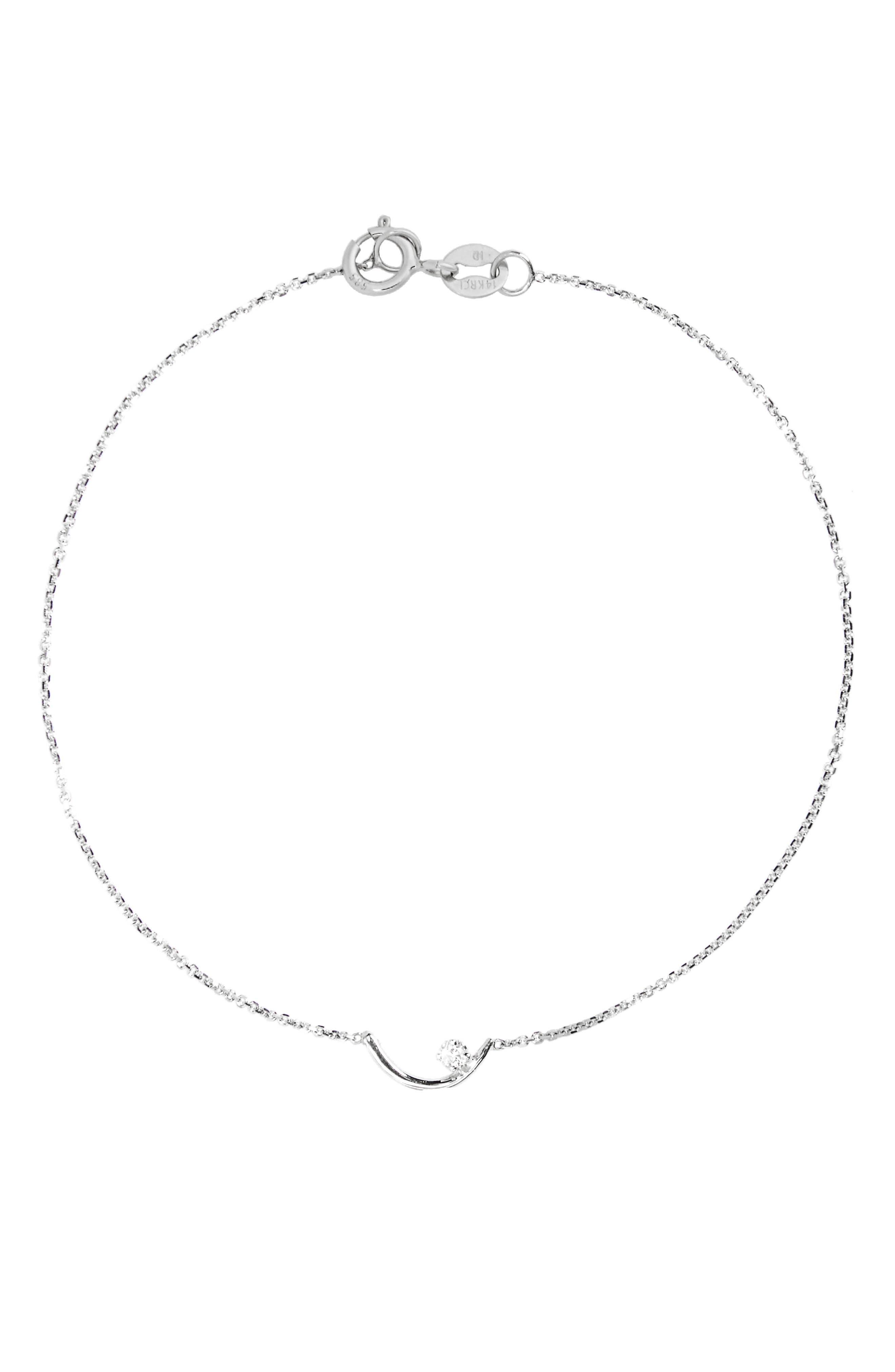 Arc Lineage Diamond Bracelet,                             Main thumbnail 1, color,                             STERLING SILVER/ WHITE DIAMOND