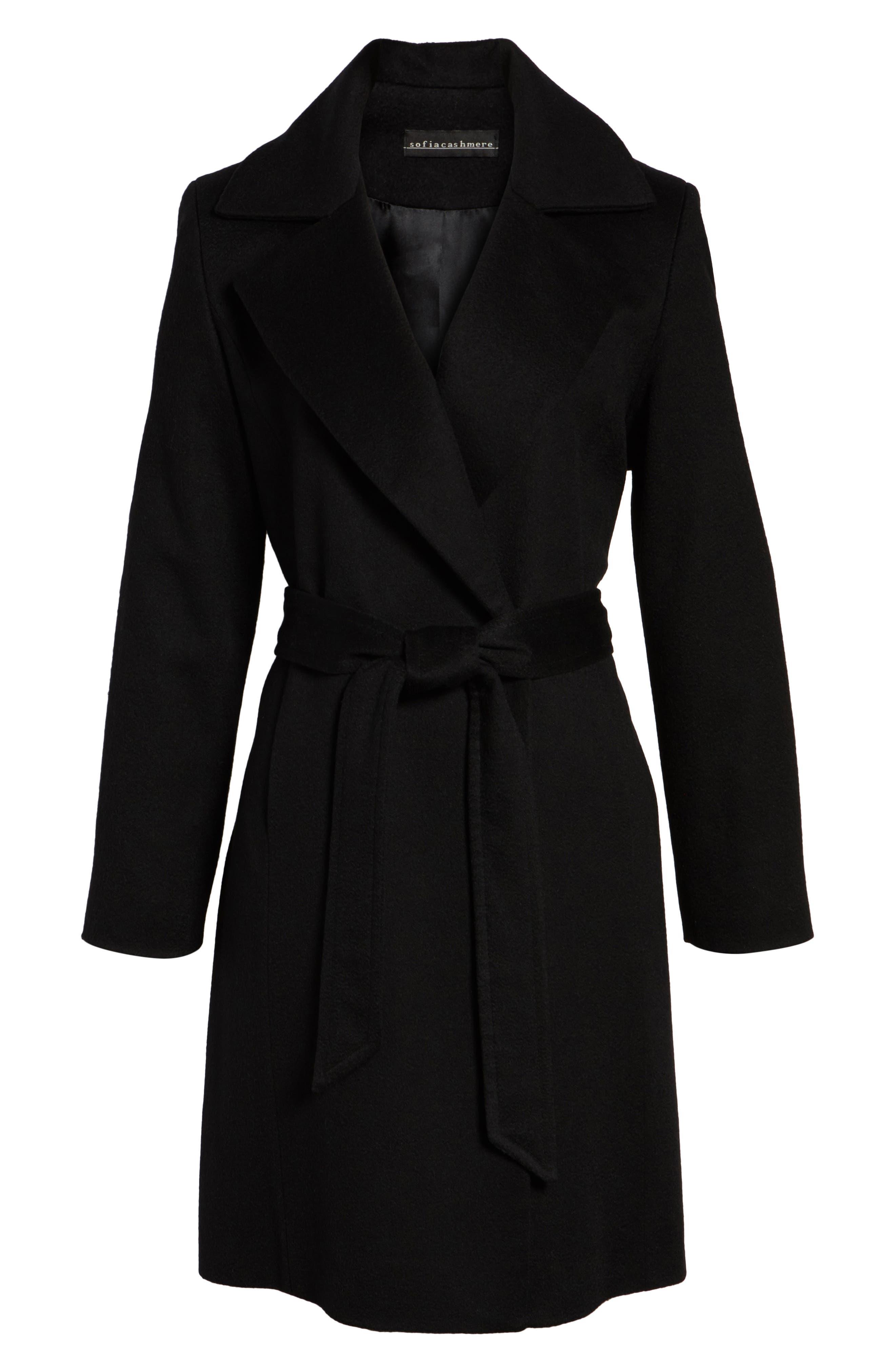 Notch Collar Cashmere Wrap Coat,                             Alternate thumbnail 5, color,                             001