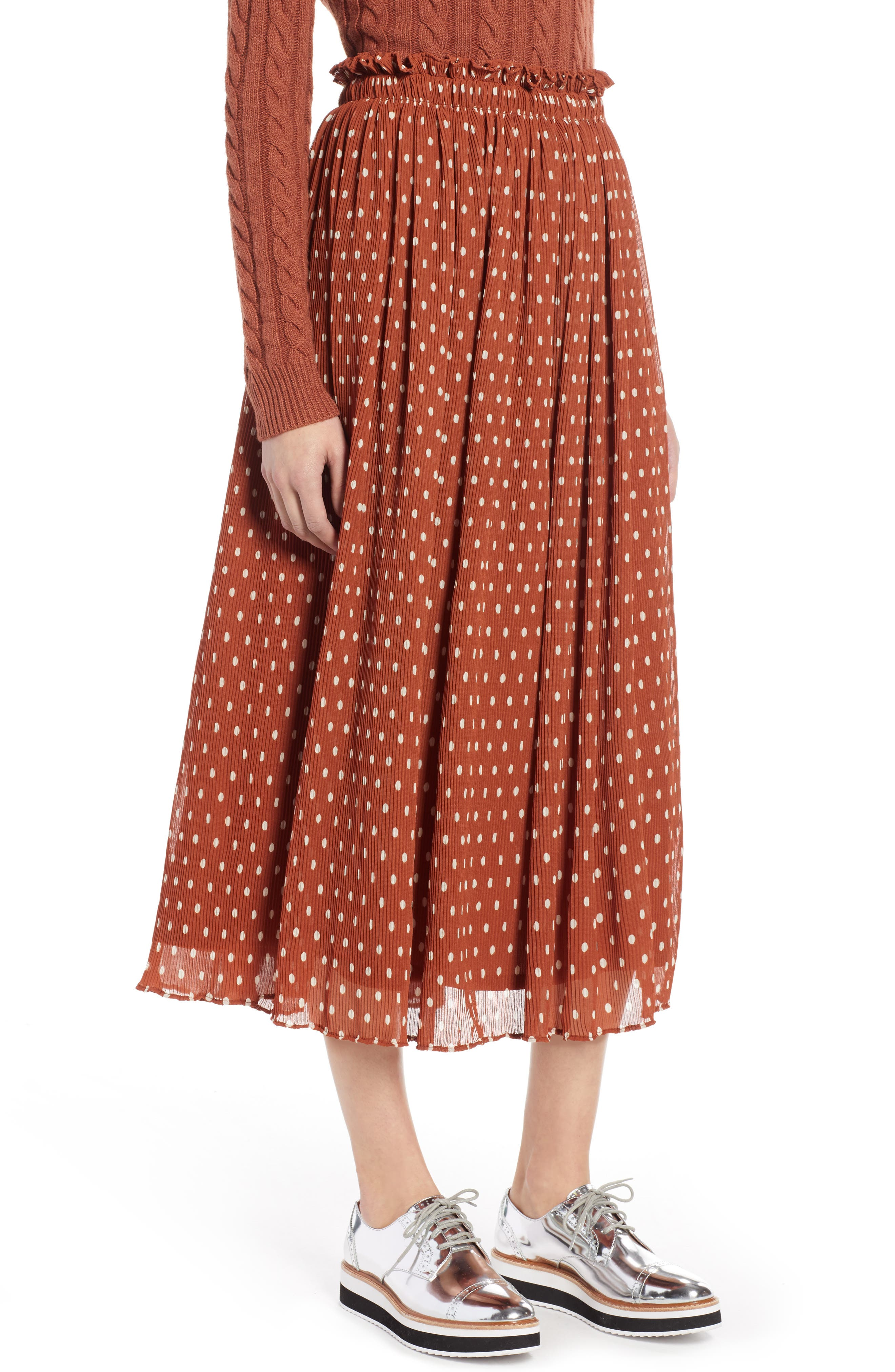 x Atlantic-Pacific Crinkle Midi Skirt, Main, color, RUST SPACED DOT
