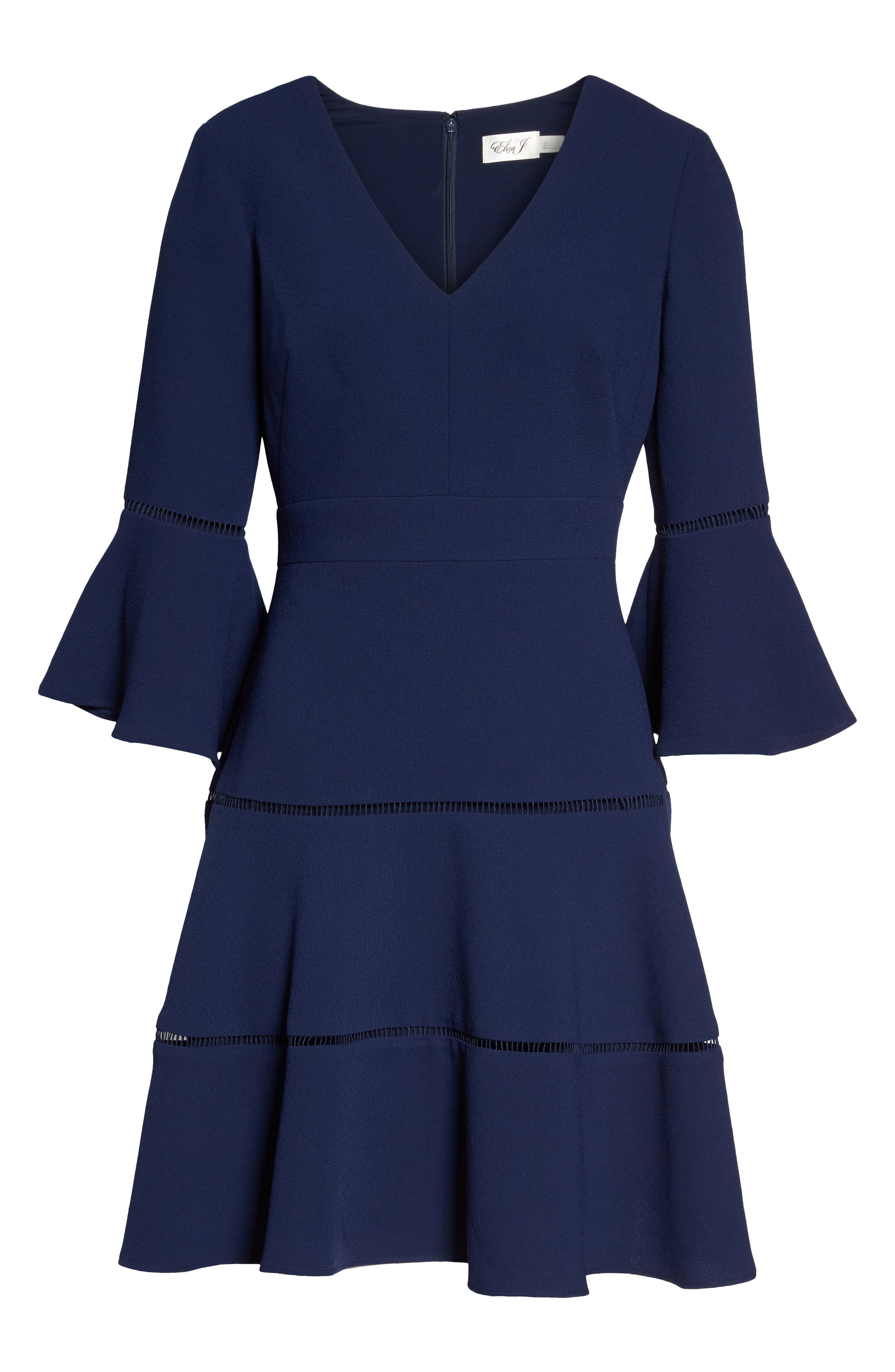 Lace Inset Fit & Flare Dress,                             Alternate thumbnail 7, color,                             NAVY
