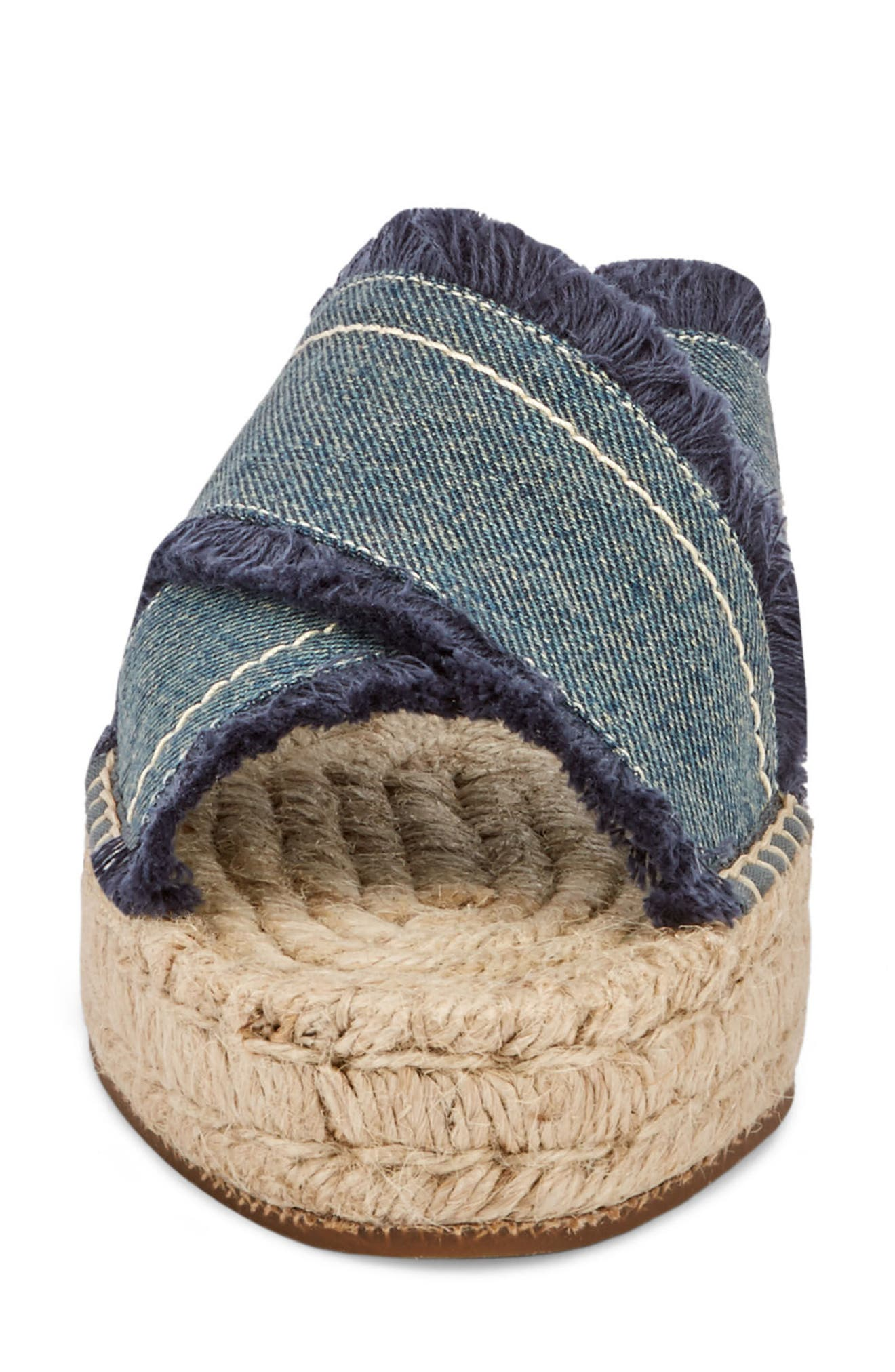 Anabelle Espadrille Sandal,                             Alternate thumbnail 4, color,                             DARK BLUE DENIM FABRIC