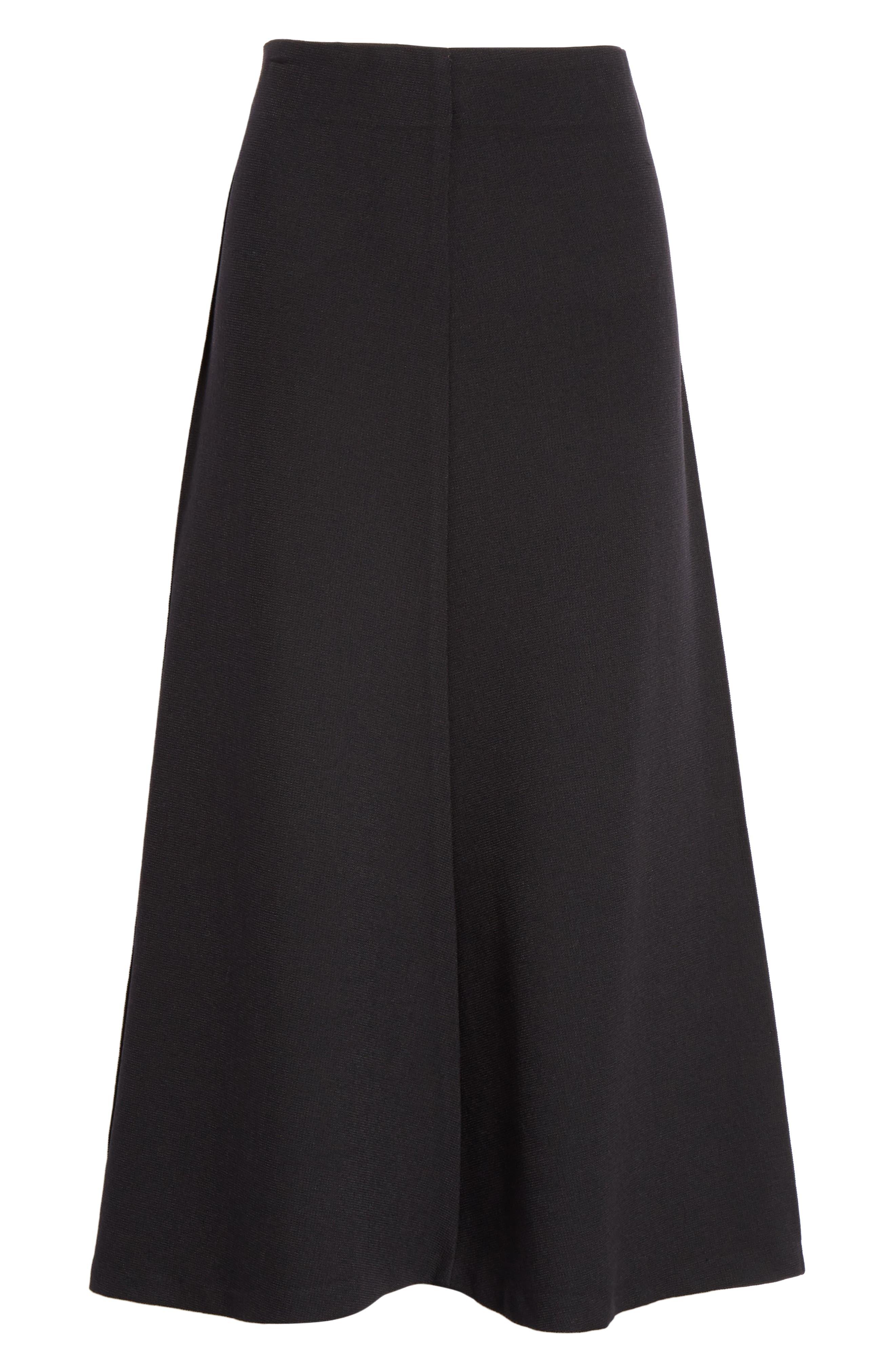 Fit & Flare Midi Skirt,                             Alternate thumbnail 6, color,                             BLACK PIQUE
