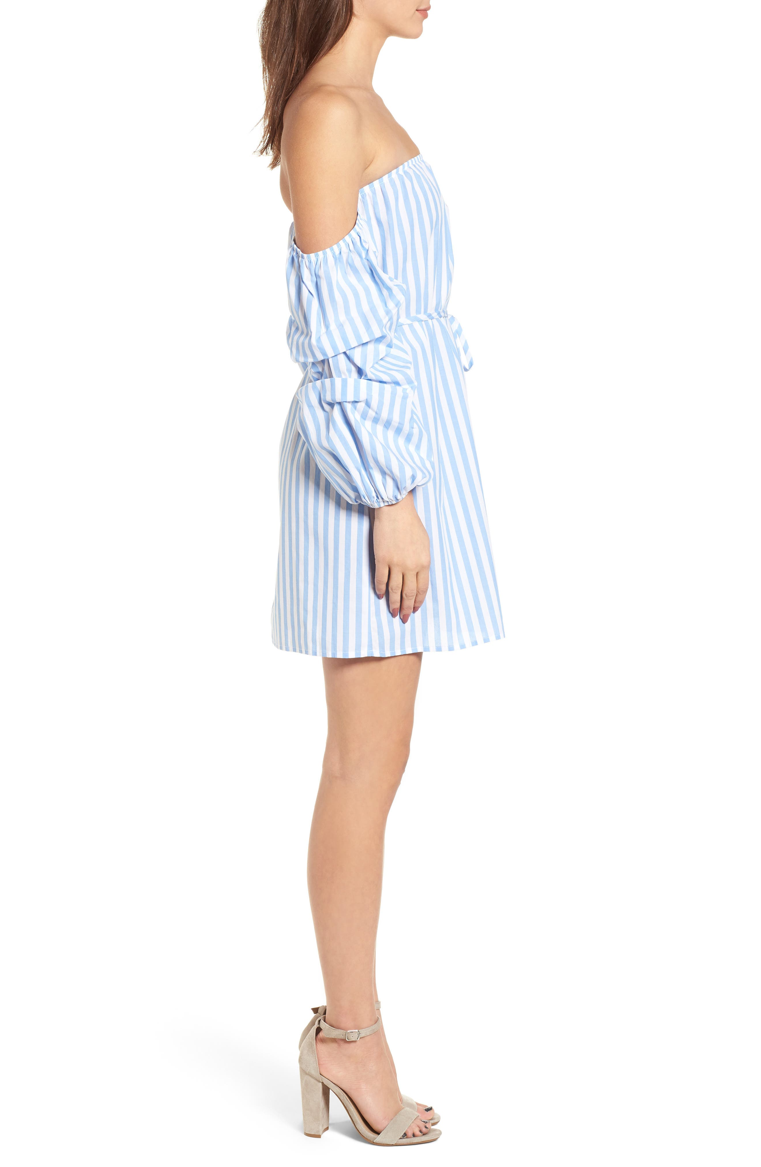 Off the Shoulder Stripe Minidress,                             Alternate thumbnail 3, color,                             100