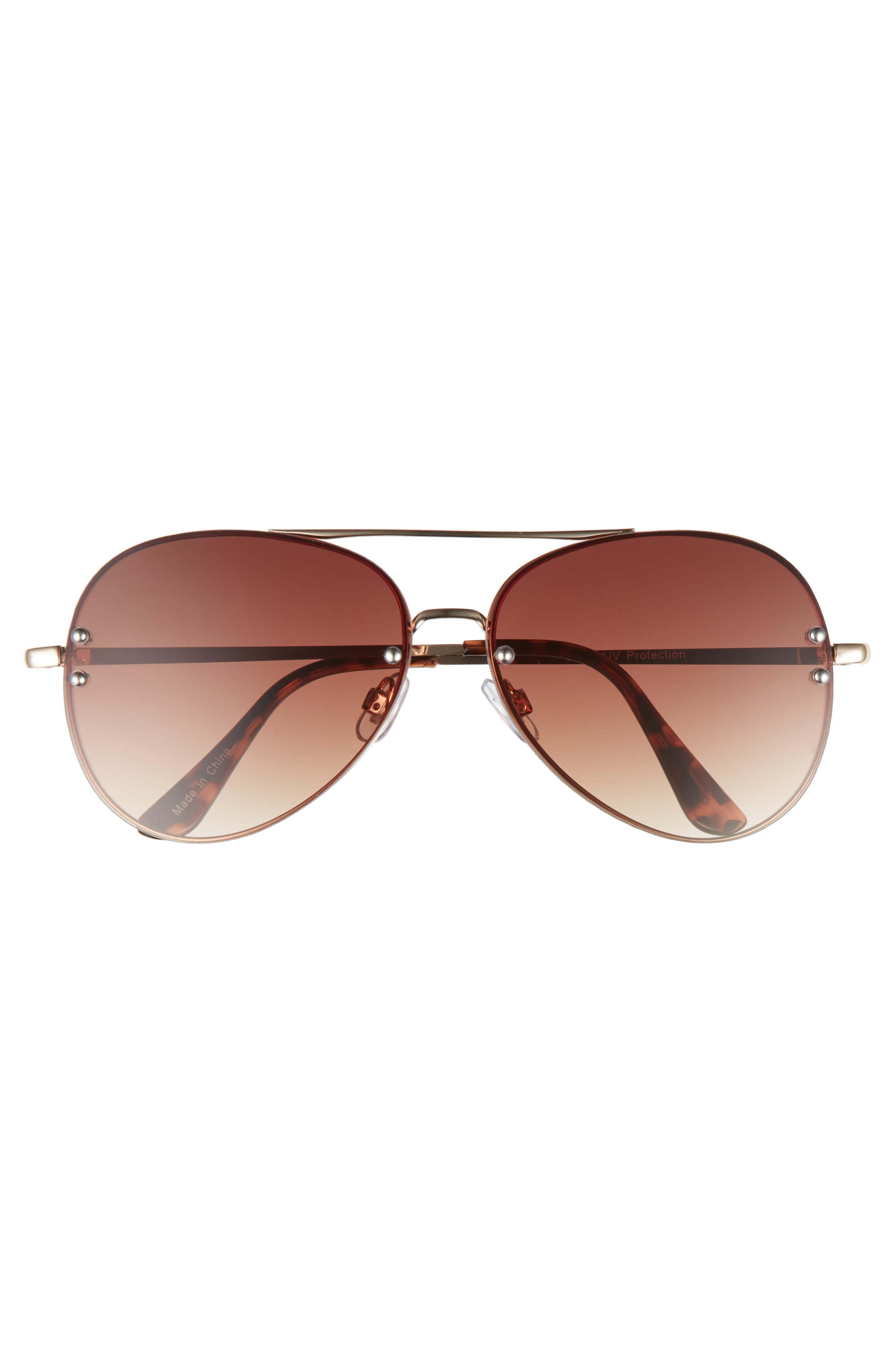 60mm Oversize Mirrored Aviator Sunglasses,                             Alternate thumbnail 3, color,                             GOLD/ BROWN
