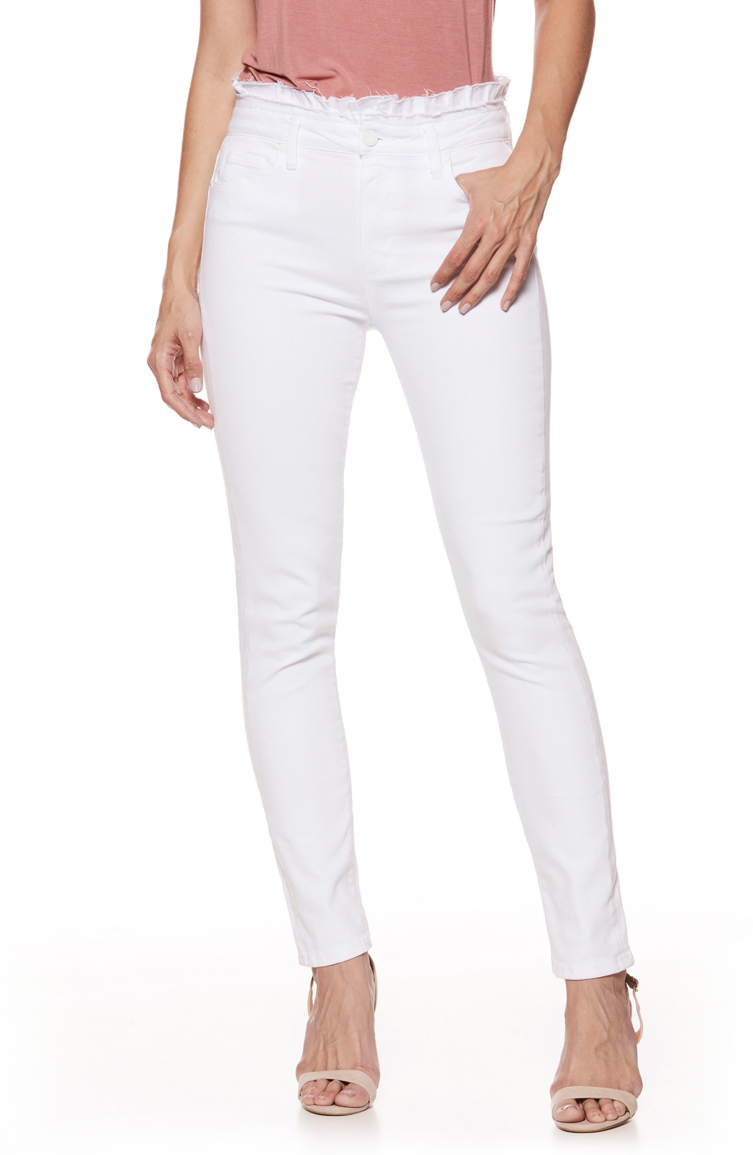 Hoxton Ruffle High Waist Ankle Ultra Skinny Jeans,                         Main,                         color, CRISP WHITE