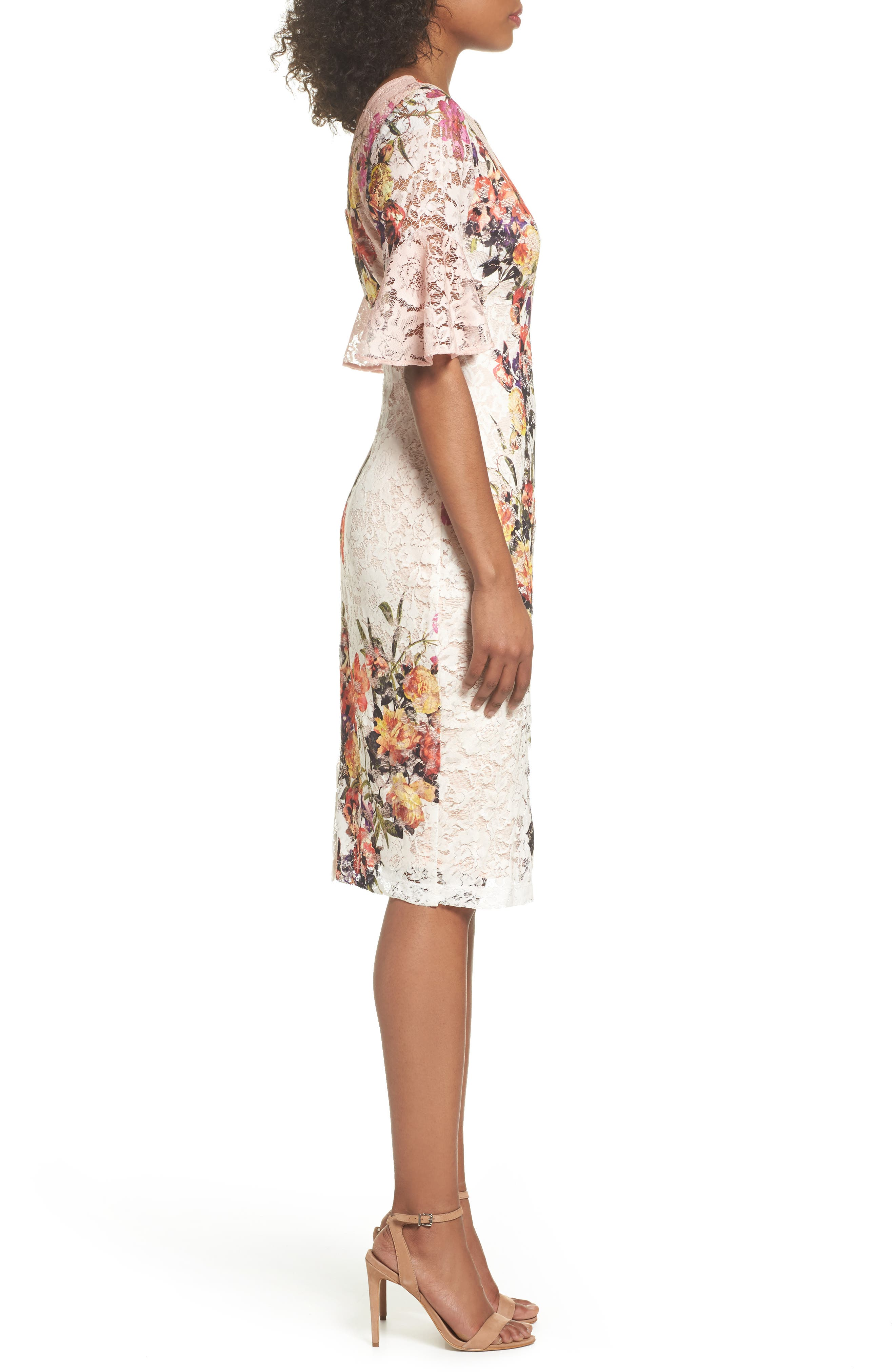 Print Lace Sheath Dress,                             Alternate thumbnail 3, color,                             950