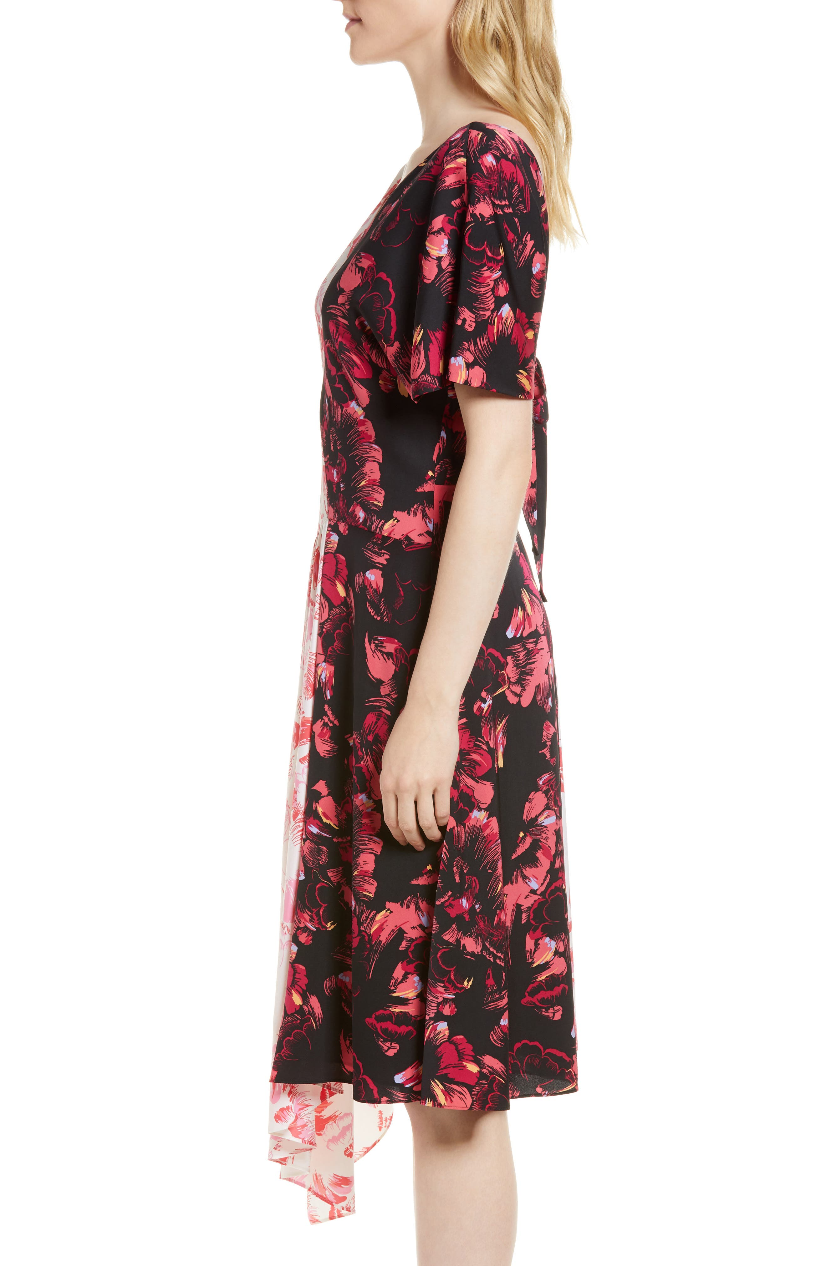 Double Print Floral Stretch Silk Dress,                             Alternate thumbnail 4, color,