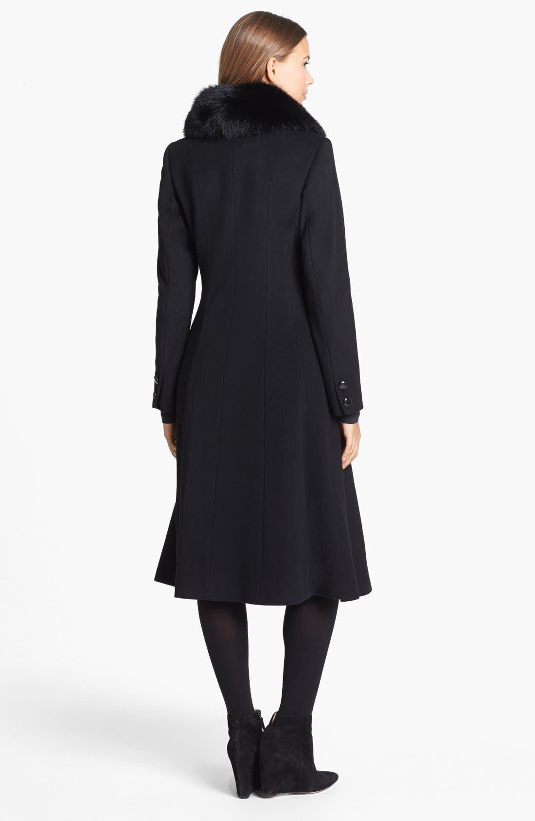 Couture Genuine Fox Fur Collar Coat,                             Alternate thumbnail 3, color,                             001