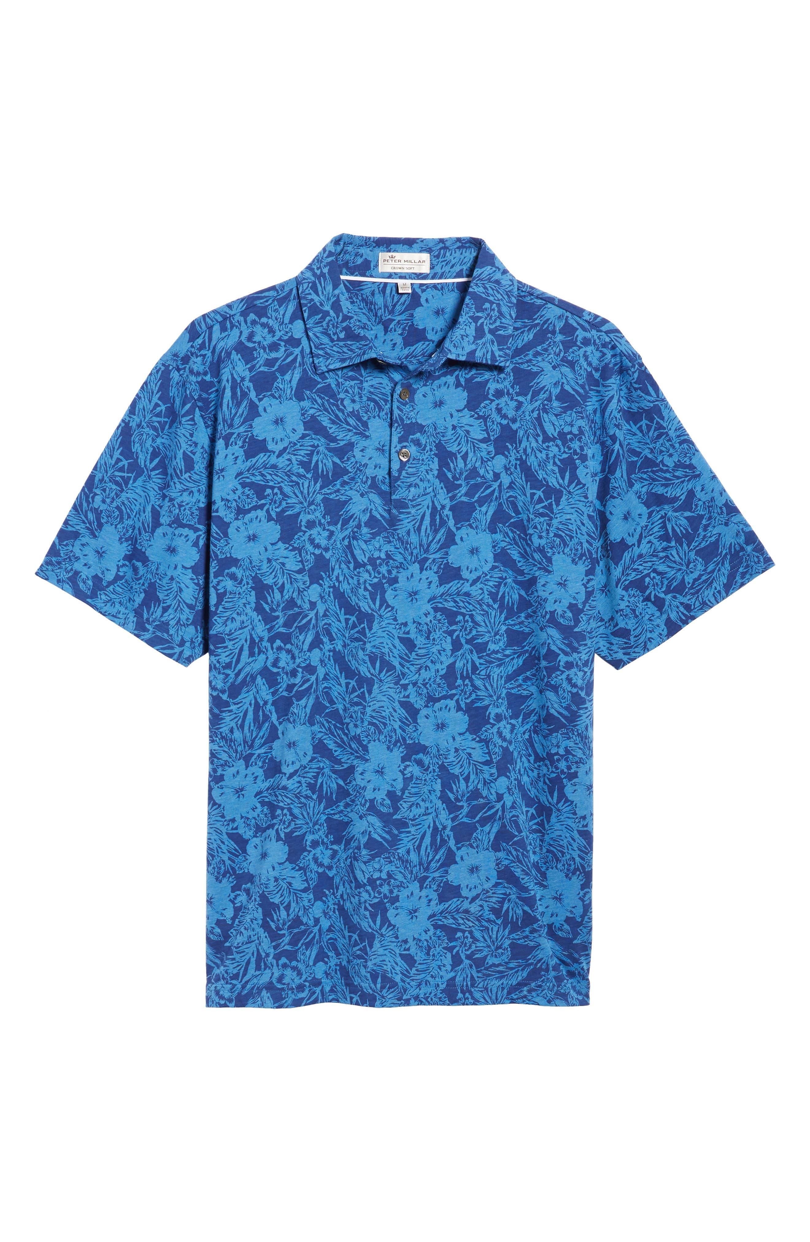 Crown Floral Cotton & Silk Polo Shirt,                             Alternate thumbnail 6, color,                             400