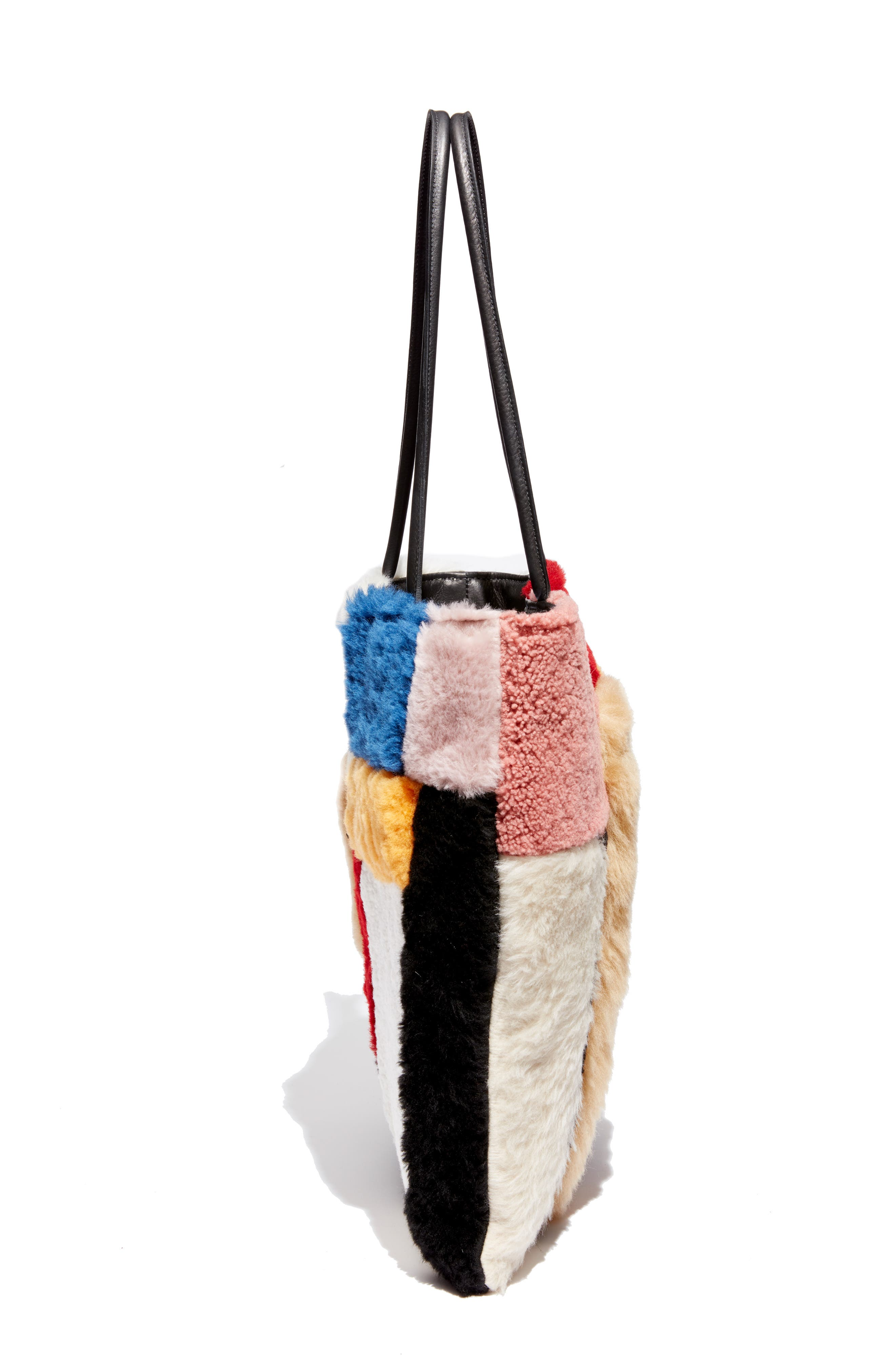 Patchwork Genuine Shearling Tote,                             Alternate thumbnail 5, color,                             MULTI COLOR