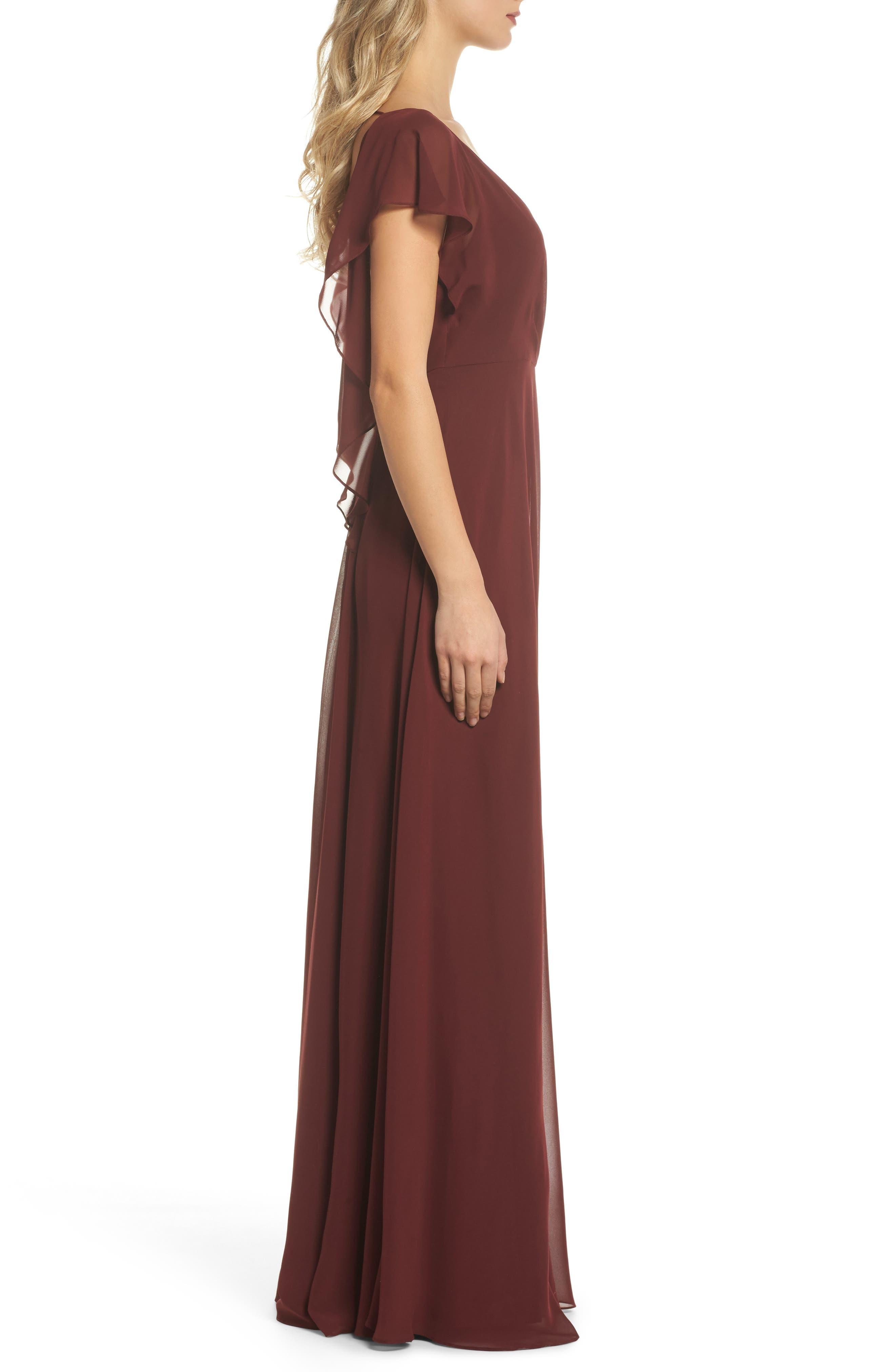 JENNY YOO,                             Alanna Open Back Chiffon Gown,                             Alternate thumbnail 3, color,                             932