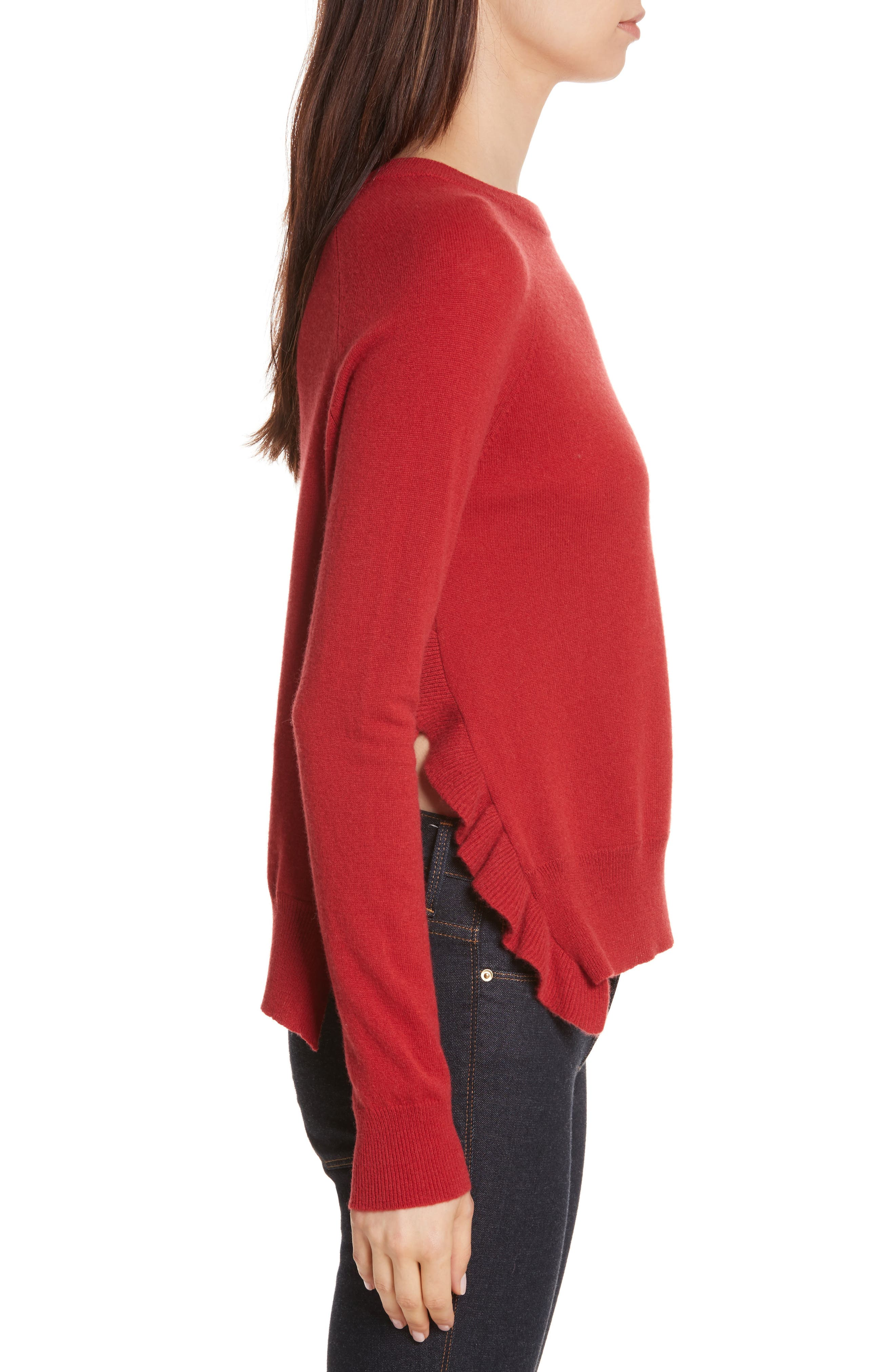 Cashmere Side Ruffle Sweater,                             Alternate thumbnail 3, color,                             404
