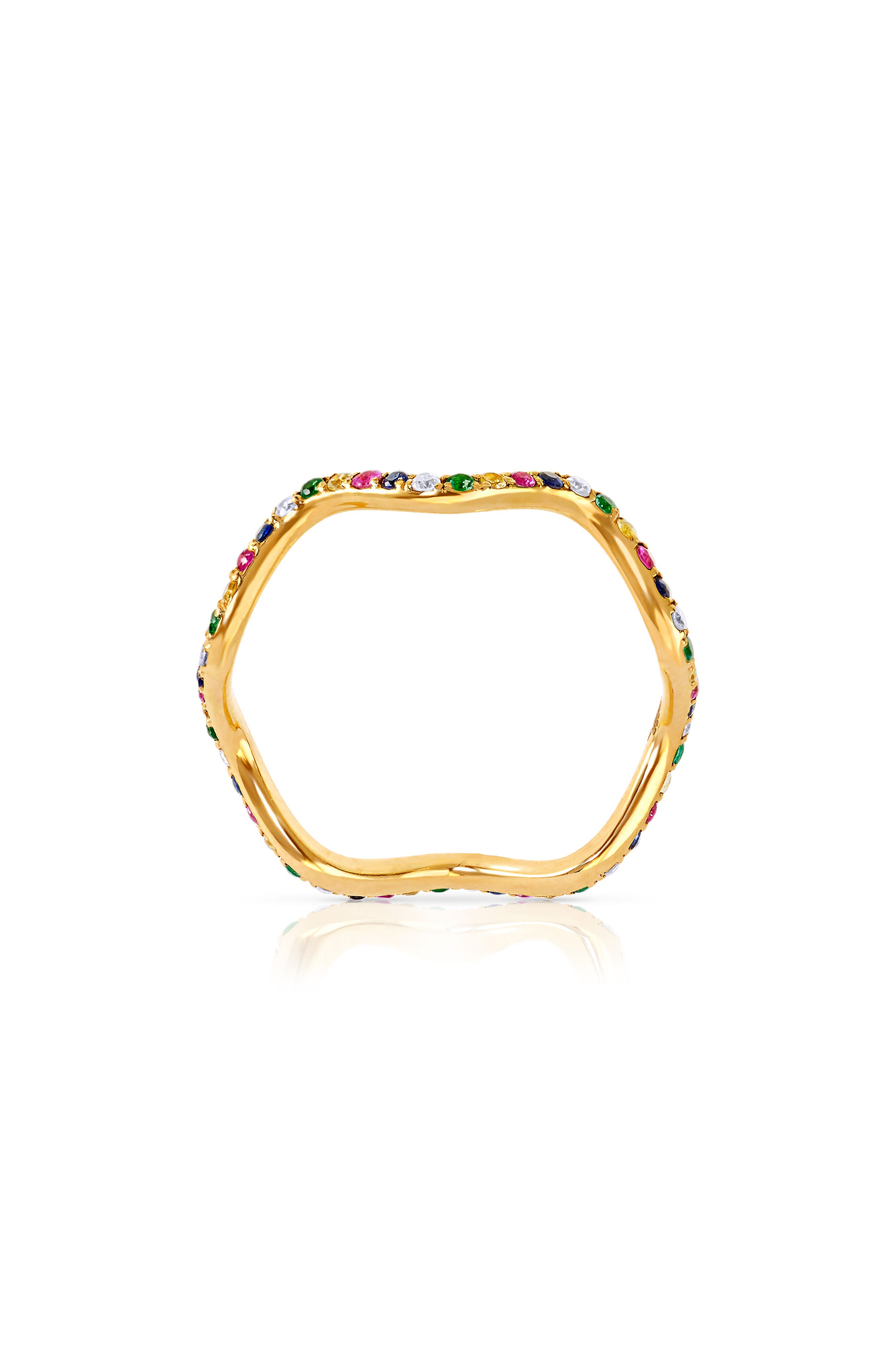 Baby Memphis Multistone Wave Band Ring,                             Main thumbnail 1, color,                             YELLOW GOLD PINK SAPPHIRE