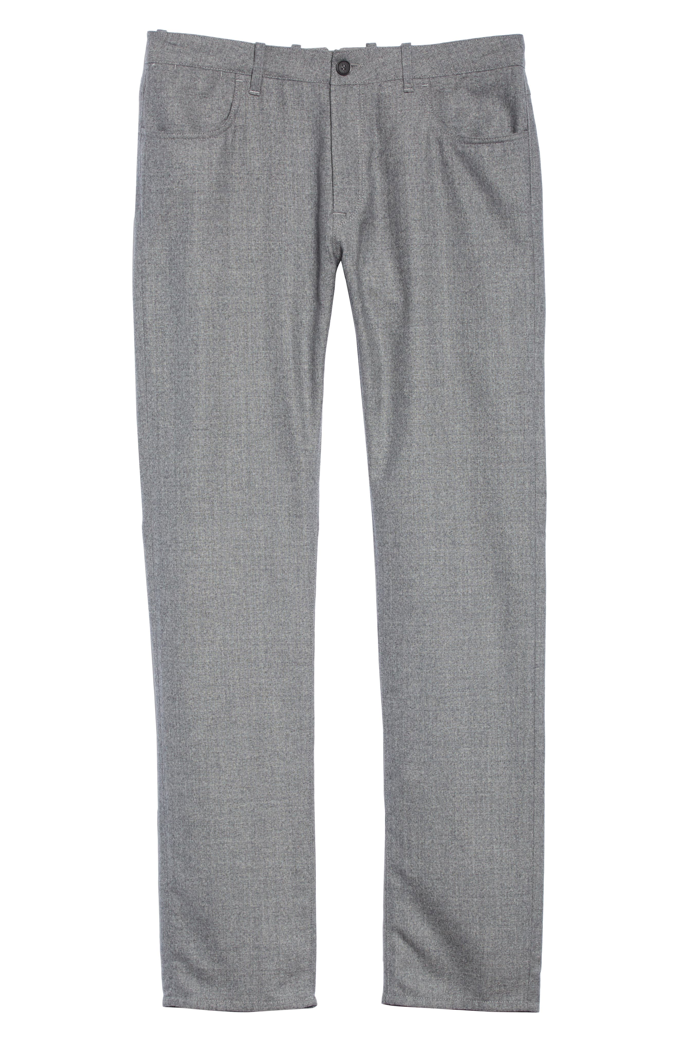Flat Front Flannel Wool Five-Pocket Trousers,                             Alternate thumbnail 6, color,                             LIGHT GREY
