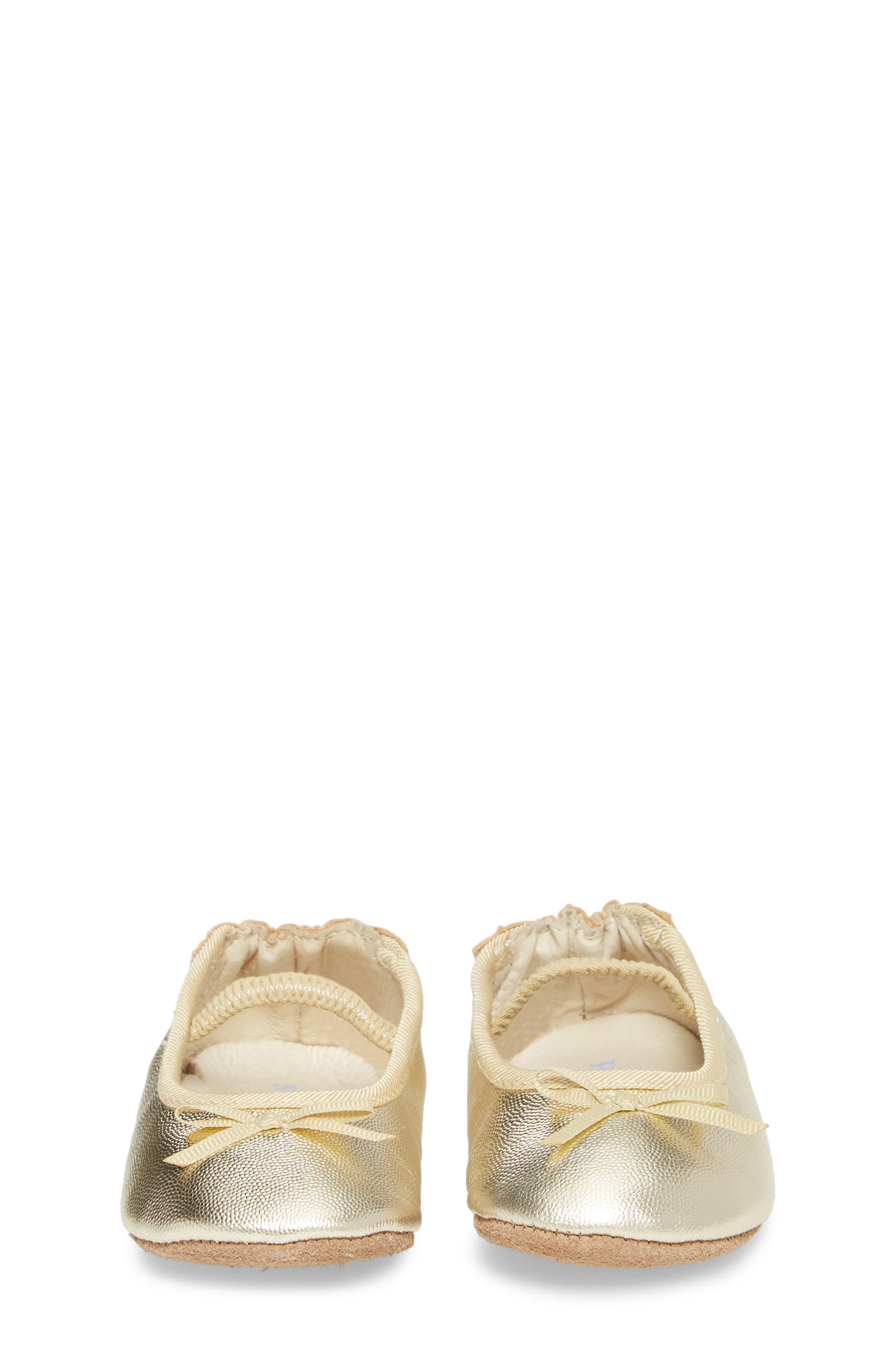 Athena Ballet Strap Crib Shoe,                             Alternate thumbnail 4, color,                             GOLD