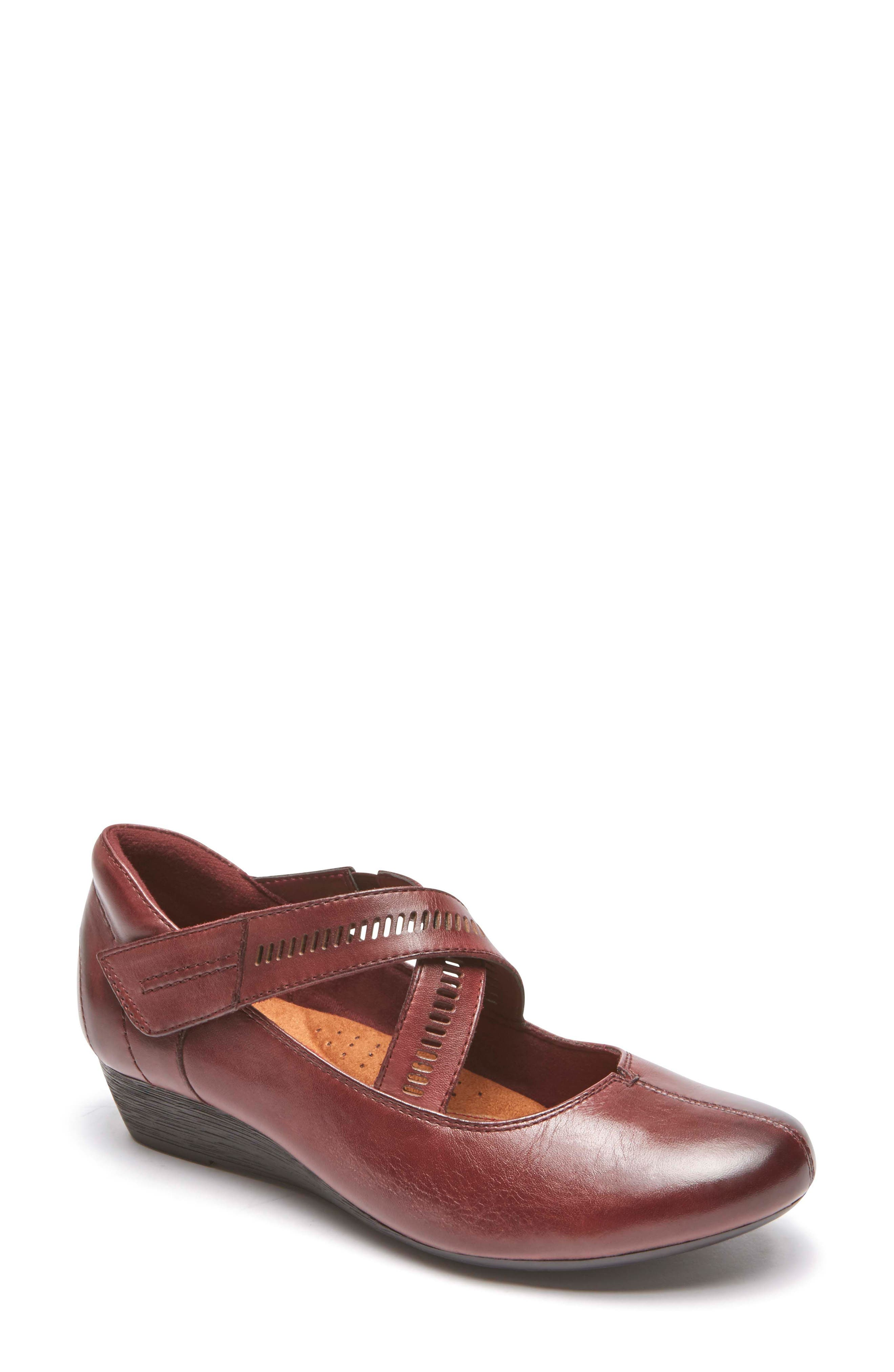 'Janet' Mary Jane Wedge,                         Main,                         color, MERLOT LEATHER