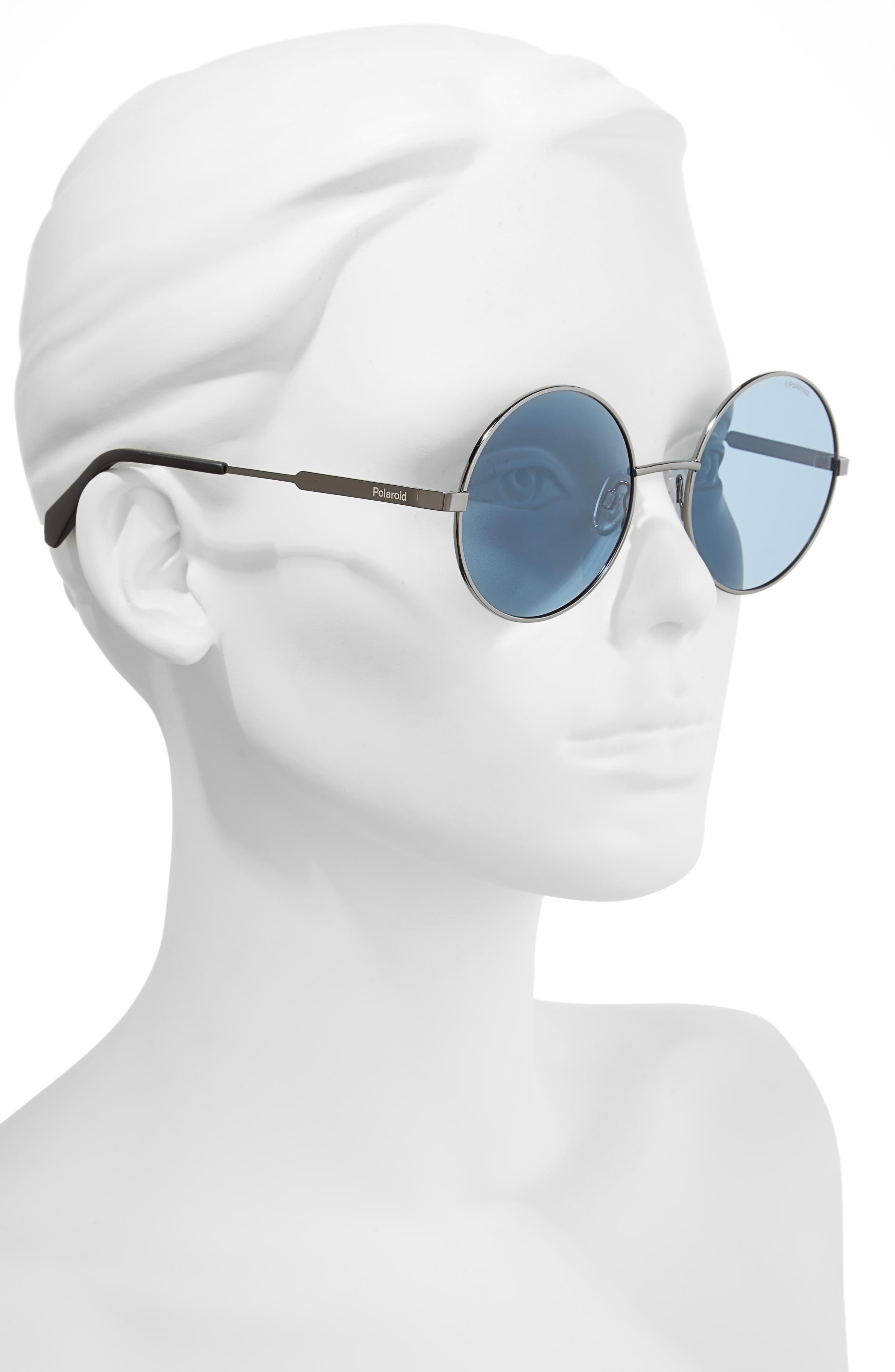 55mm Polarized Round Sunglasses,                             Alternate thumbnail 6, color,