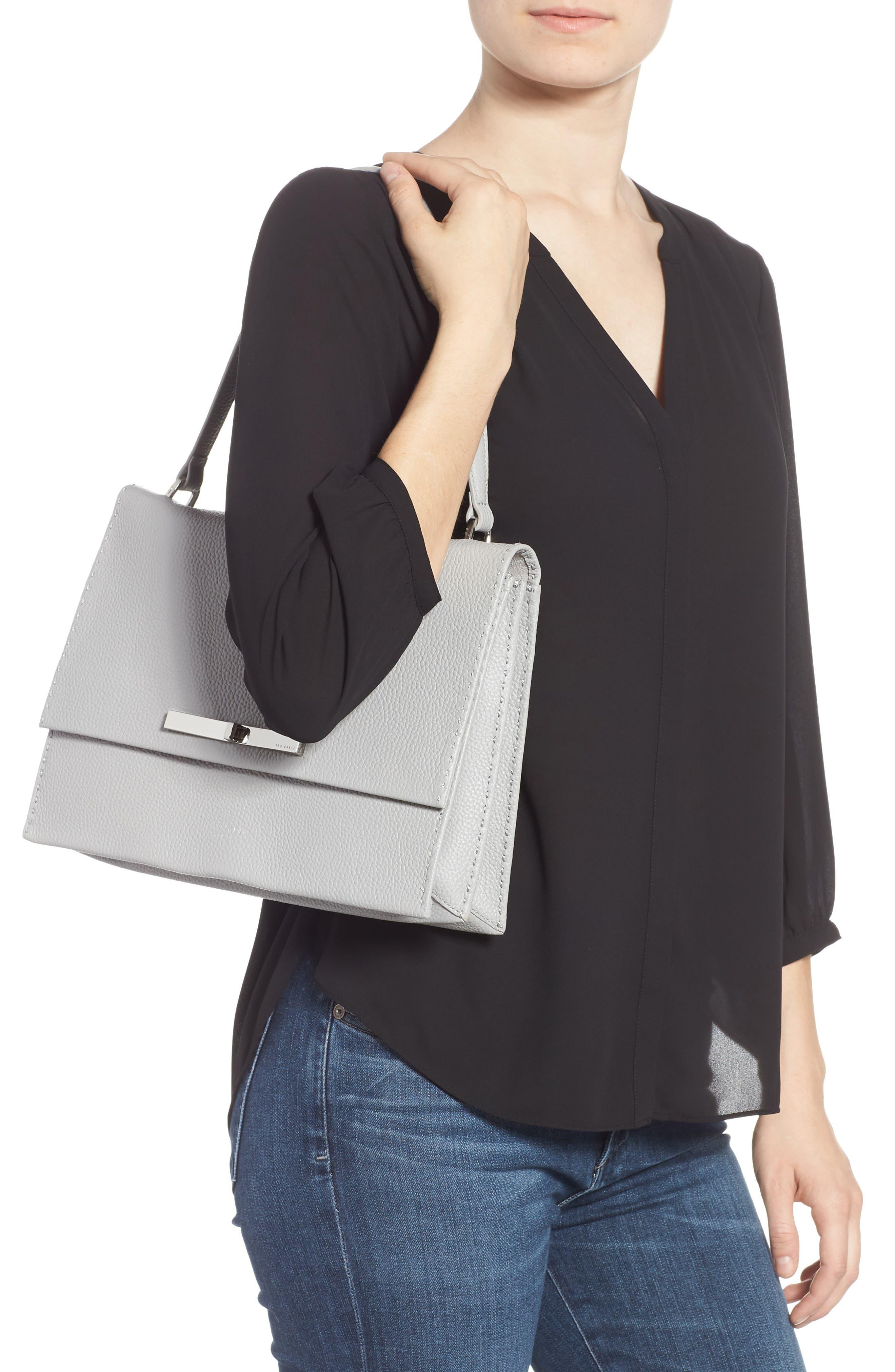 Jessi Leather Shoulder Bag,                             Alternate thumbnail 2, color,                             GREY