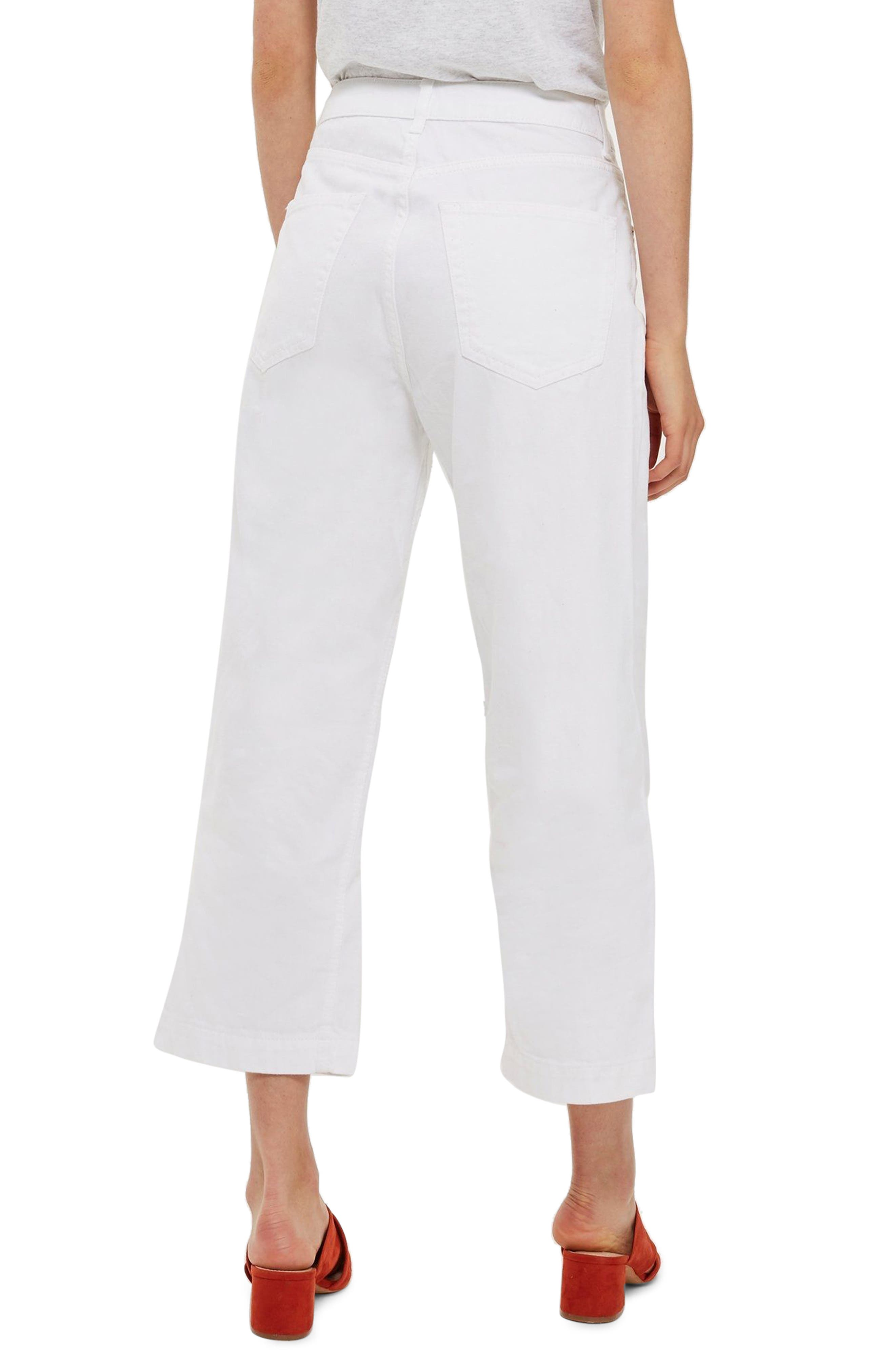 MOTO Cropped Wide Leg Non-Stretch Jeans,                             Alternate thumbnail 2, color,                             100
