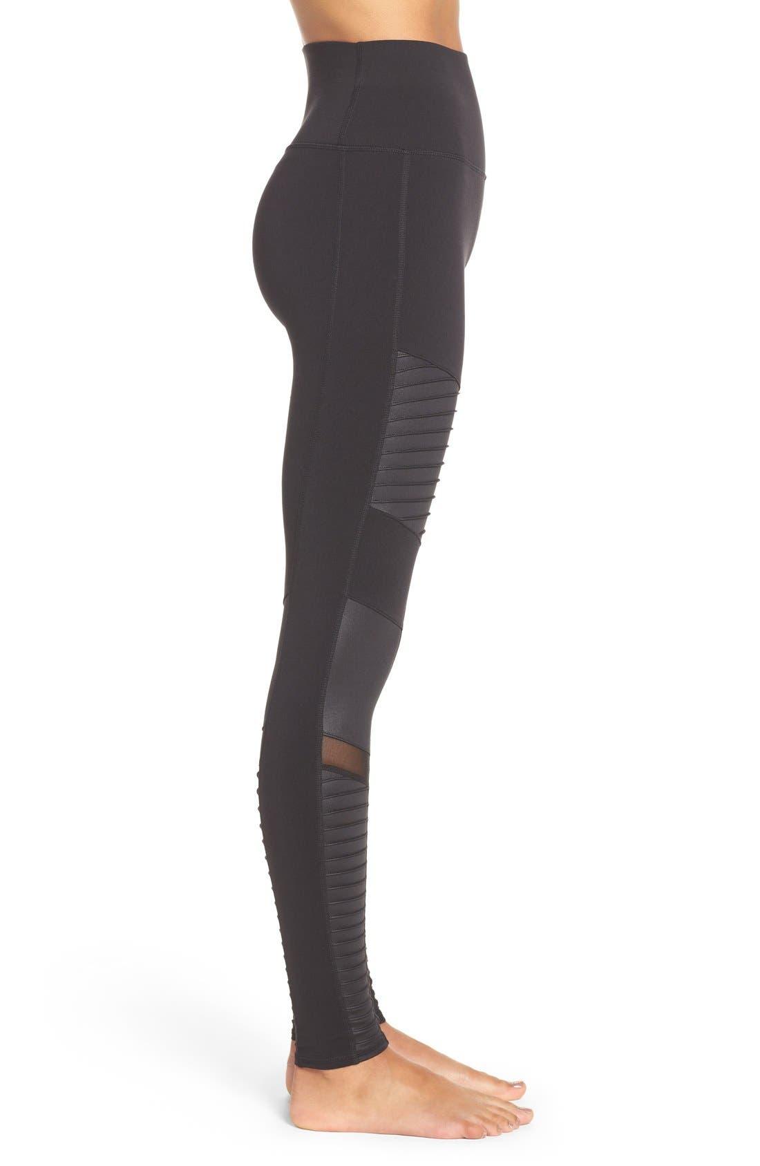 High Waist Moto Leggings,                             Alternate thumbnail 3, color,                             BLACK/ BLACK GLOSSY