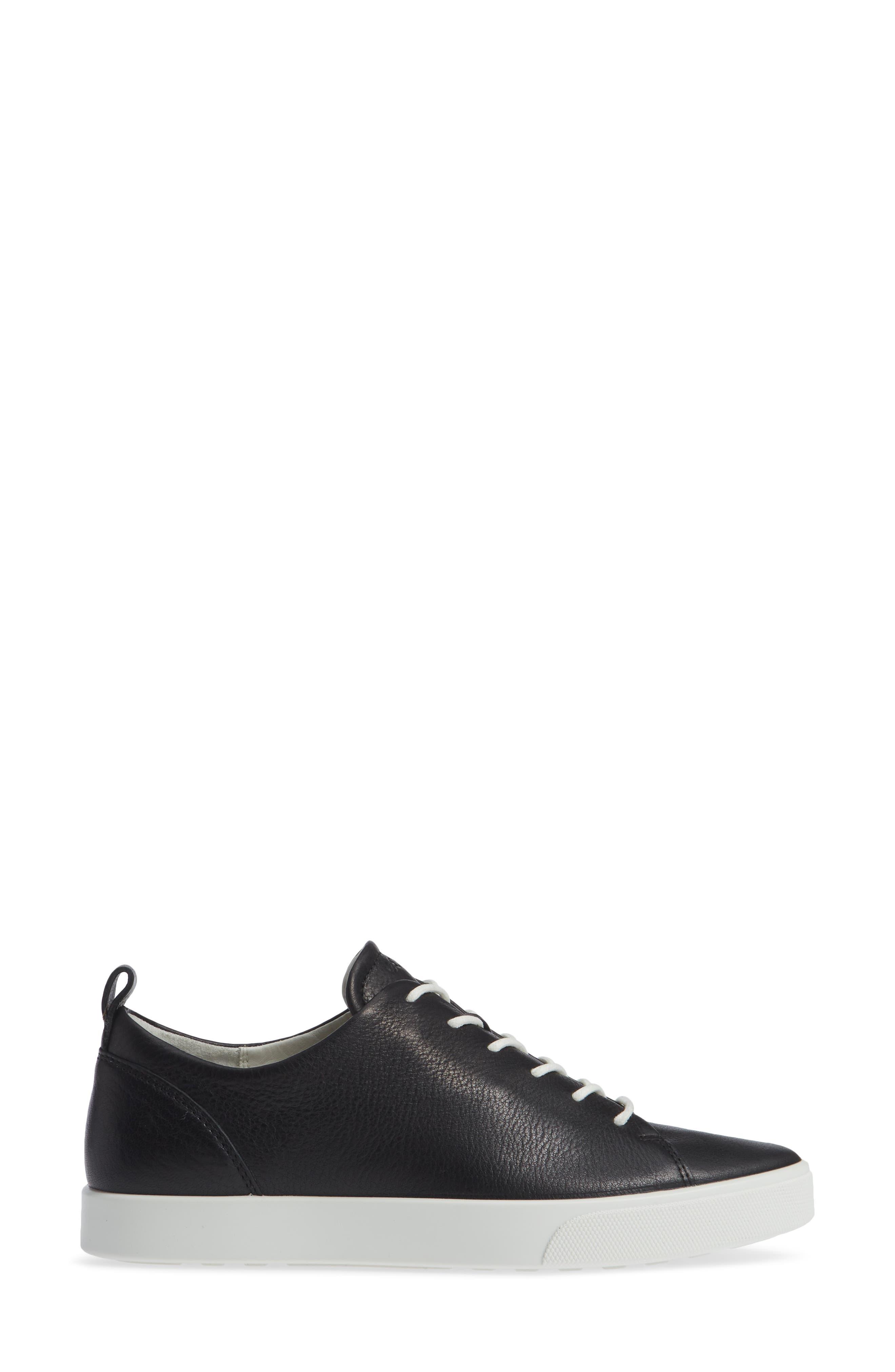 ECCO,                             Gillian Sneaker,                             Alternate thumbnail 3, color,                             BLACK/ BLACK LEATHER