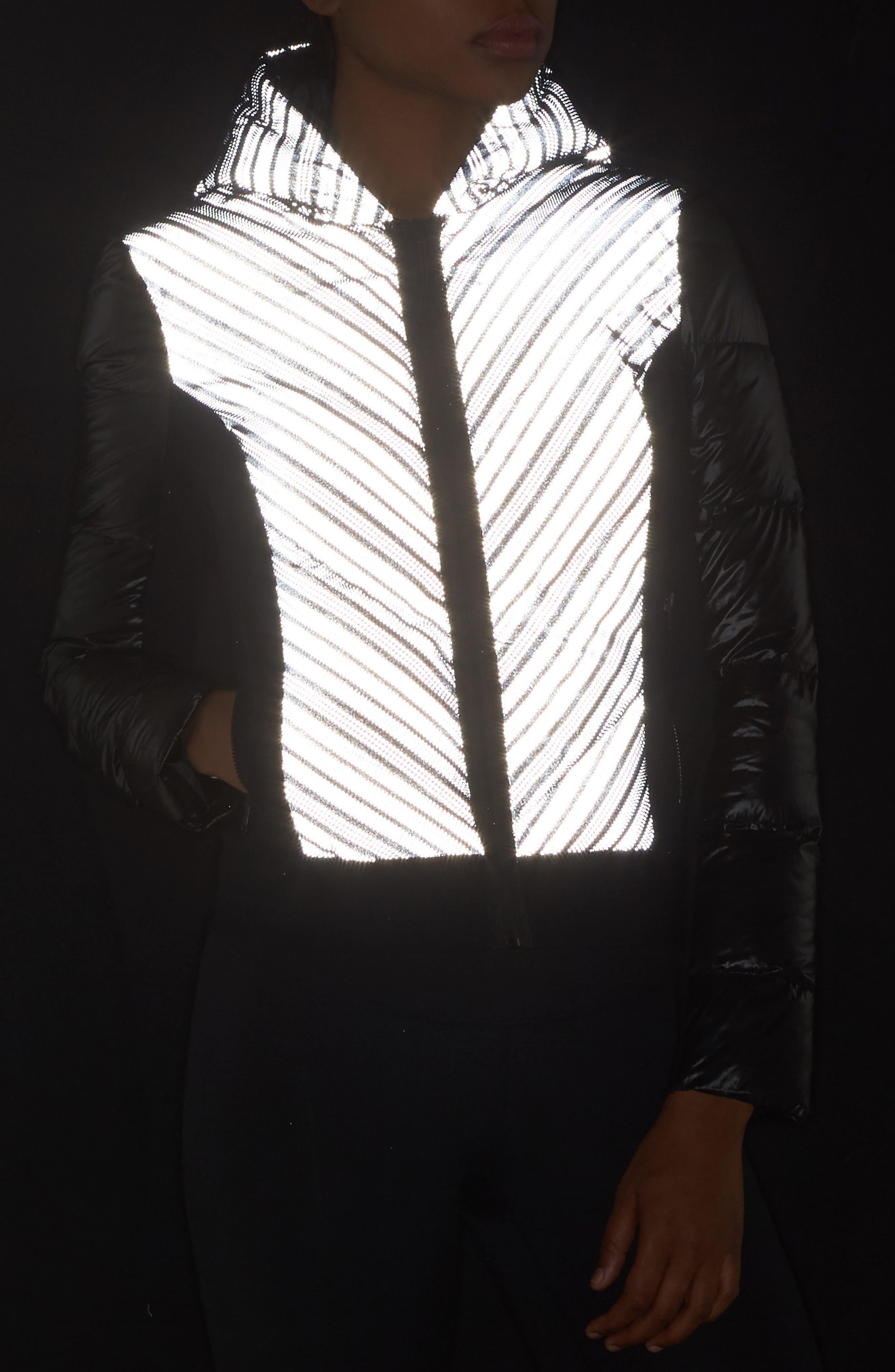 Chevron Reflective Puffer Jacket,                             Alternate thumbnail 4, color,                             001