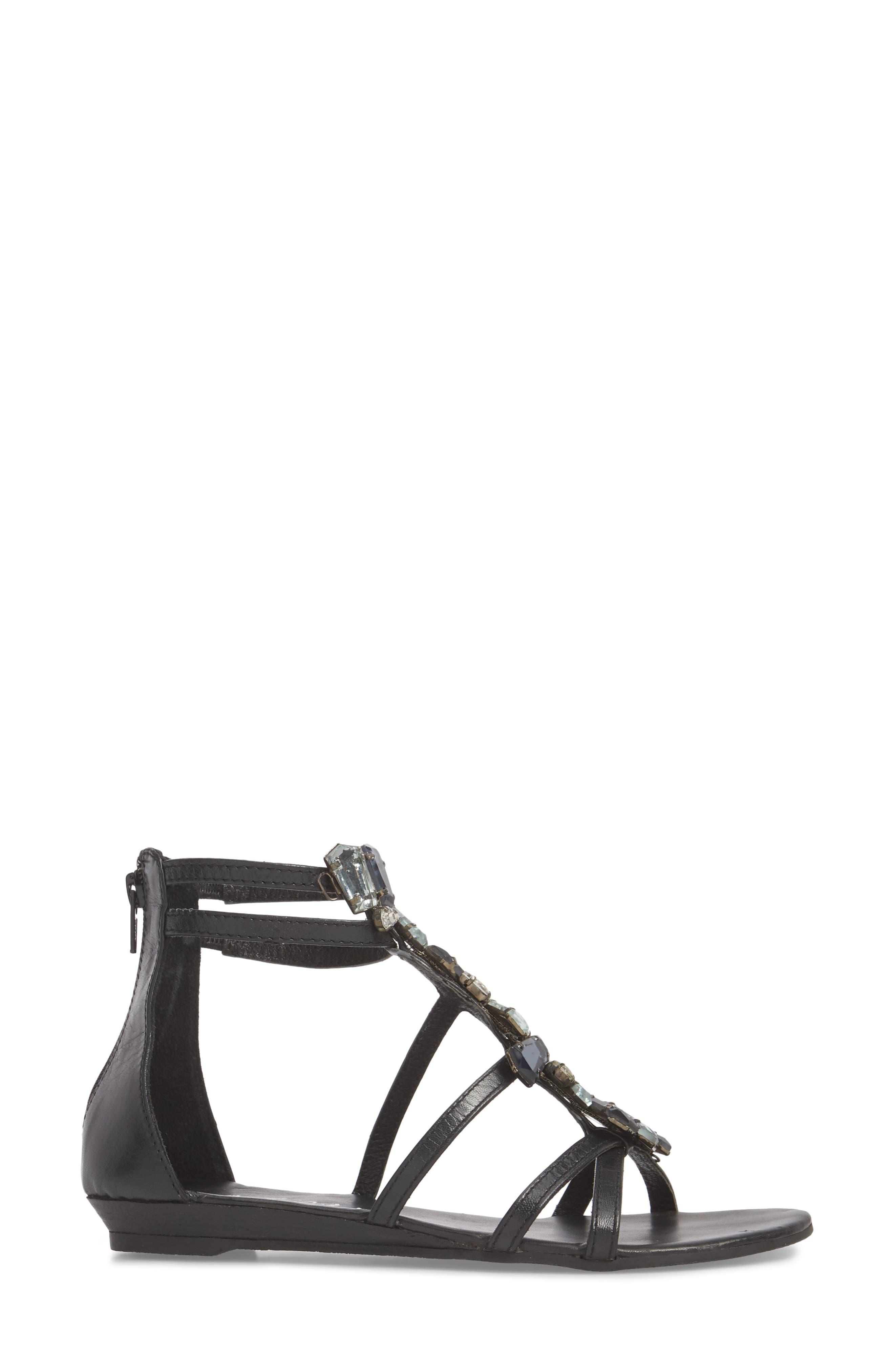 Didi Crystal Embellished Sandal,                             Alternate thumbnail 3, color,                             BLACK LEATHER
