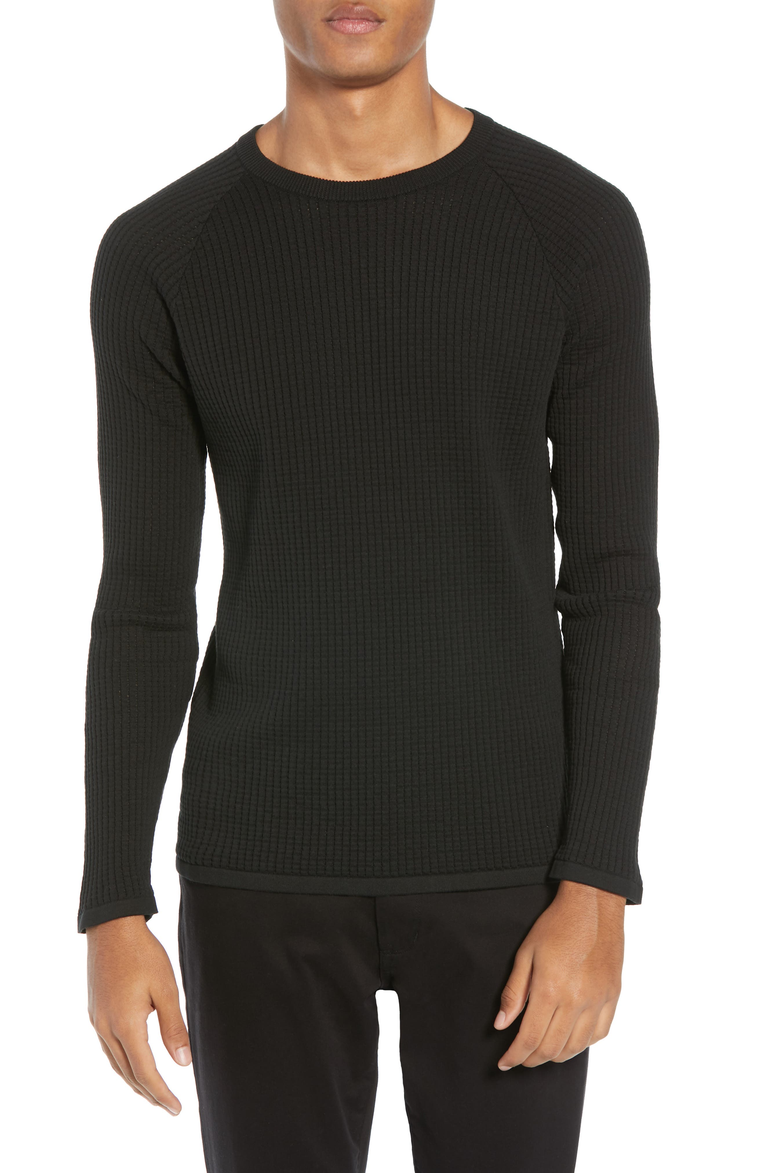 Amadeo Regular Fit Textured Cotton Sweater,                             Main thumbnail 1, color,                             BLACK