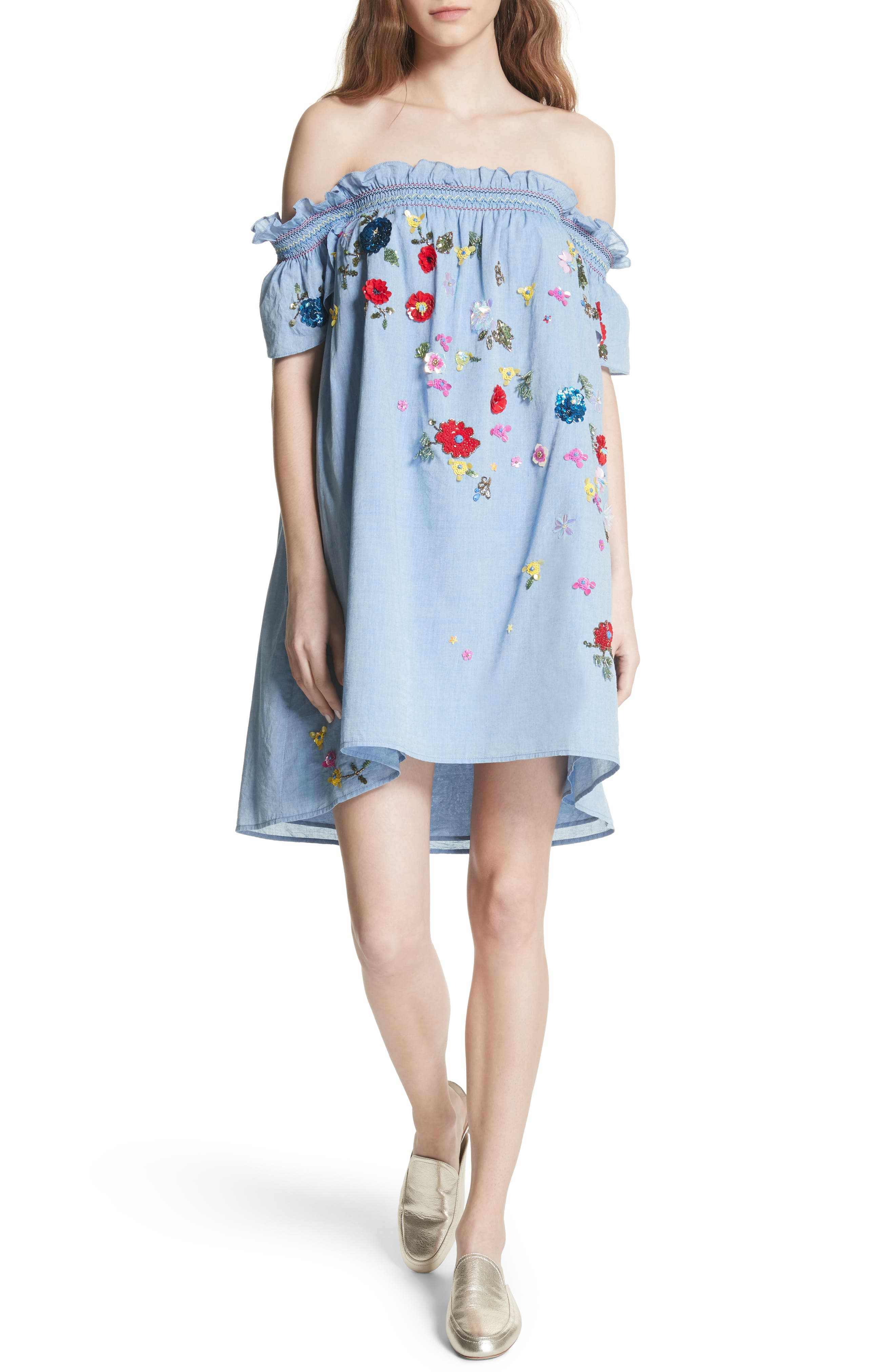 Clarimonde Embroidered Off the Shoulder Cotton Dress,                             Main thumbnail 1, color,                             400