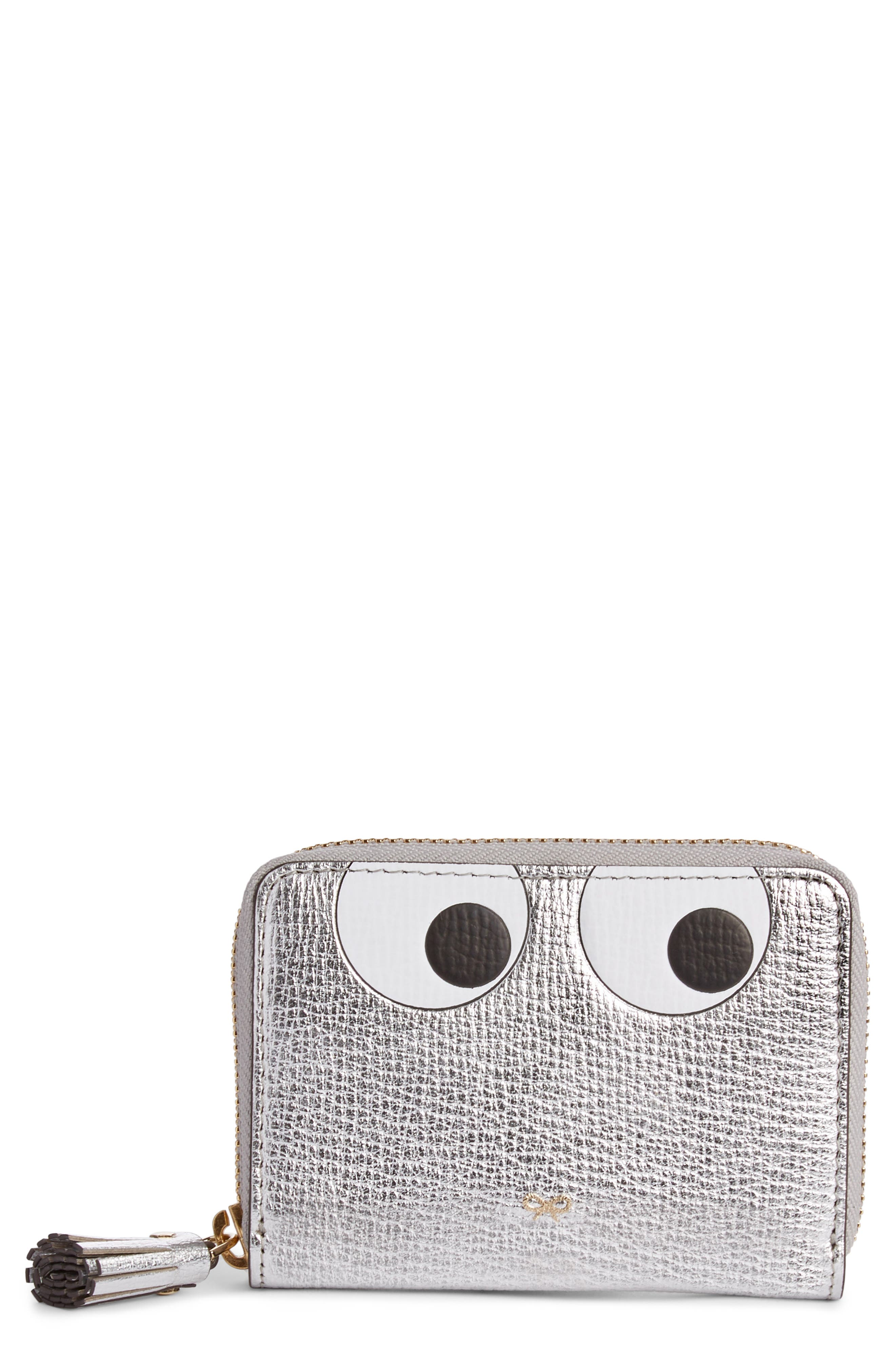 Eyes Small Metallic Leather Zip Around Wallet,                             Main thumbnail 1, color,                             SILVER