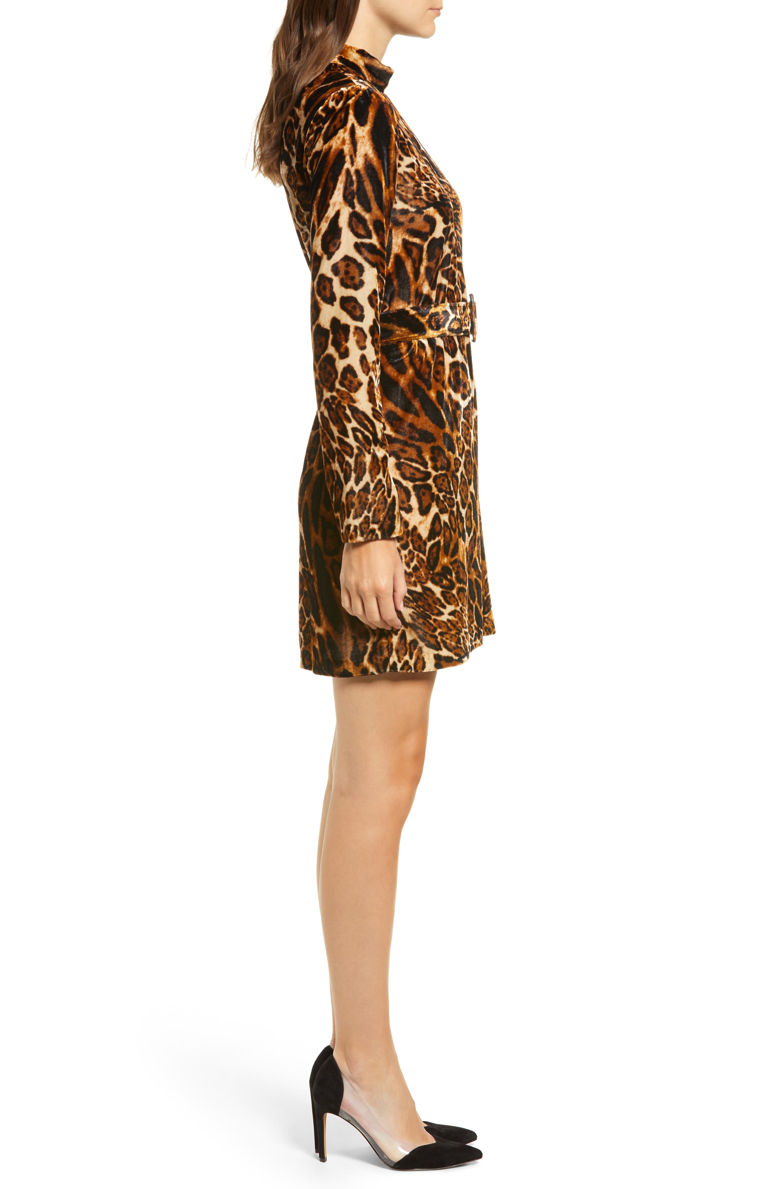 Peggy Mock Neck Velvet Dress,                             Alternate thumbnail 3, color,                             LEOPARD