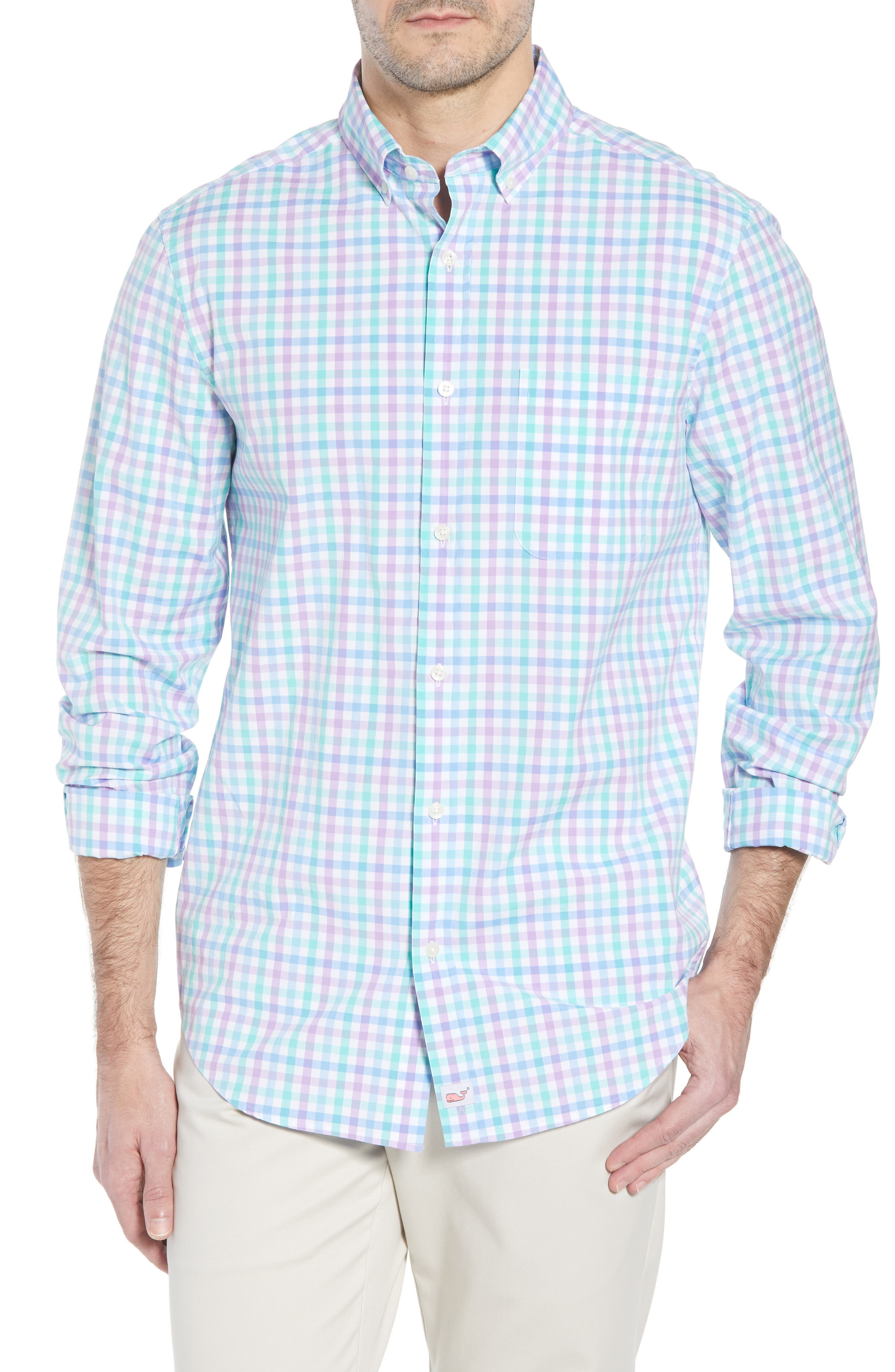 VINEYARD VINES,                             Murray Classic Fit Stretch Check Sport Shirt,                             Main thumbnail 1, color,                             526