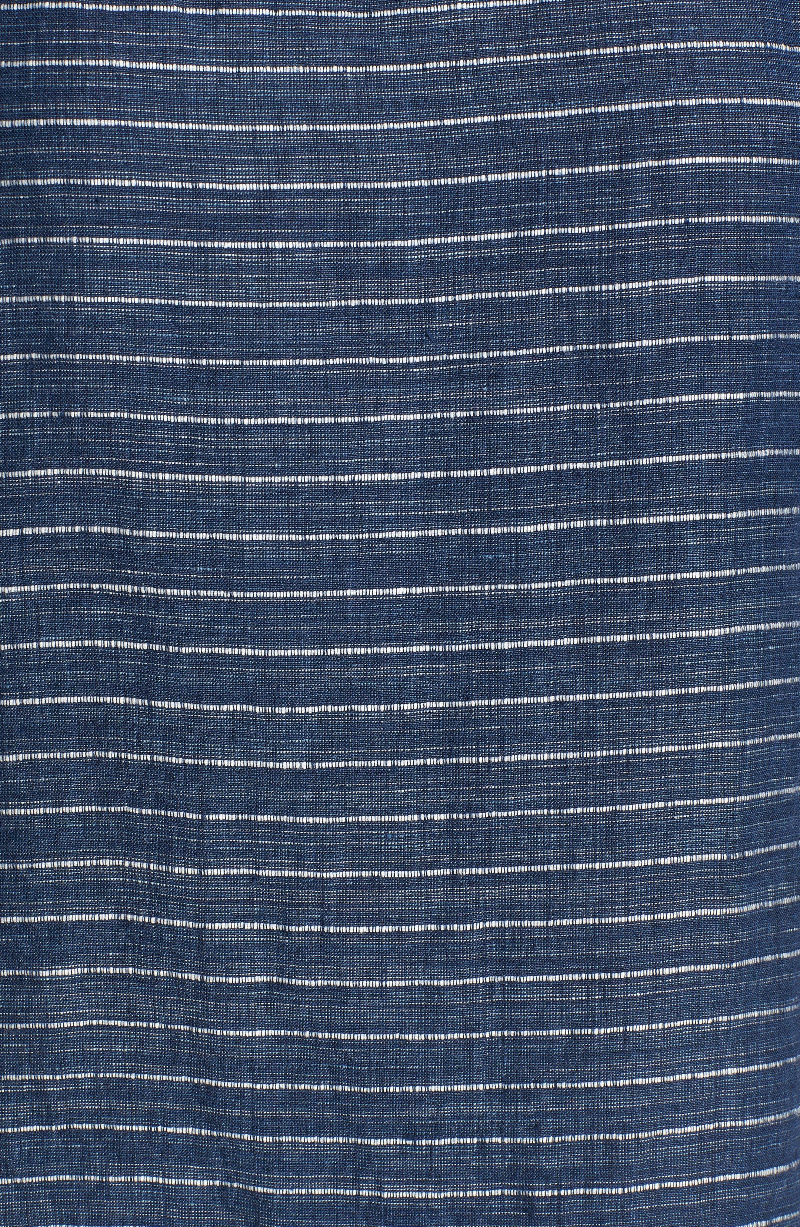 Stripe Linen Tunic Dress,                             Alternate thumbnail 5, color,                             480