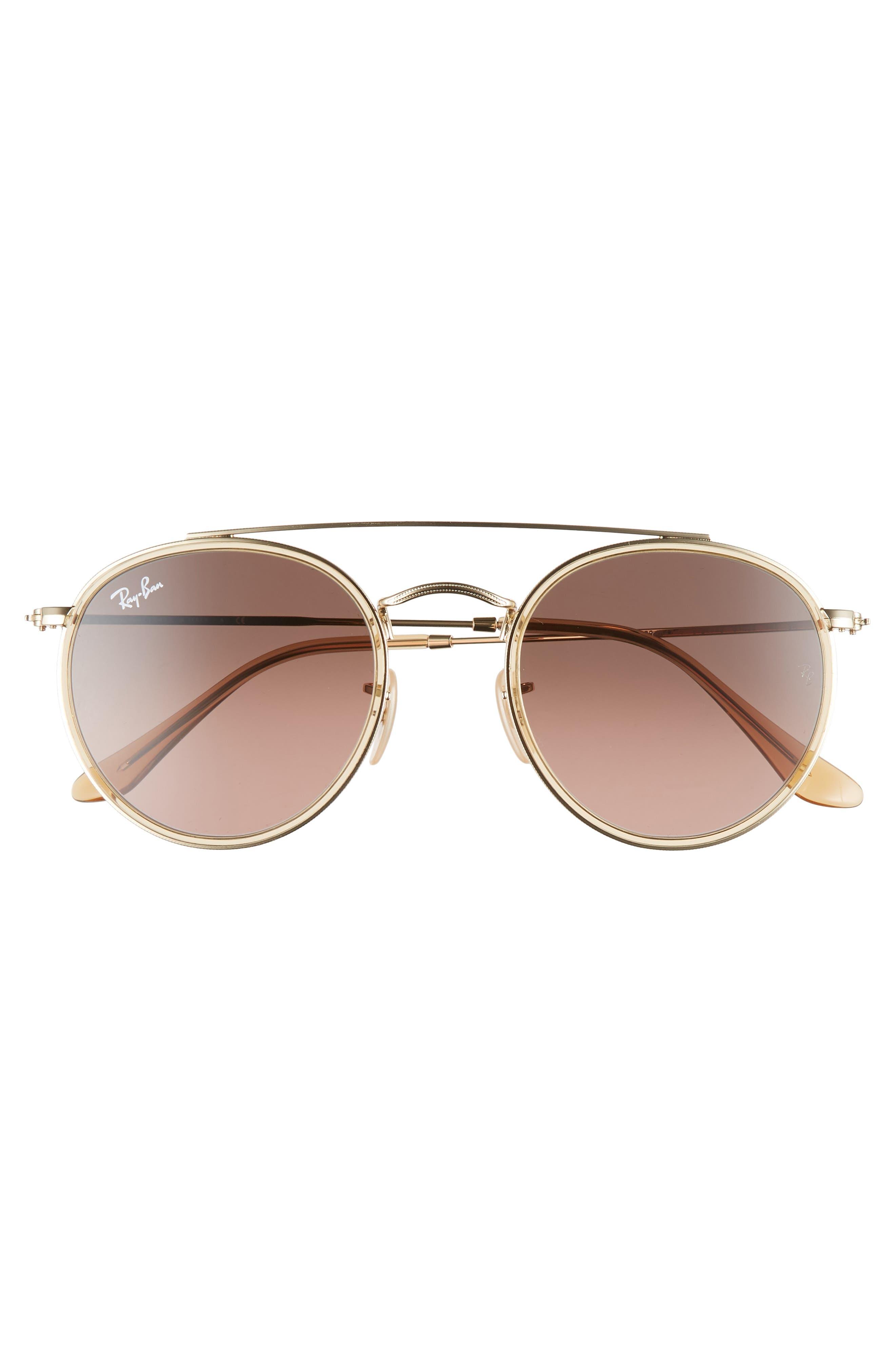 51mm Aviator Gradient Lens Sunglasses,                             Alternate thumbnail 3, color,                             GOLD/ BROWN GRADIENT