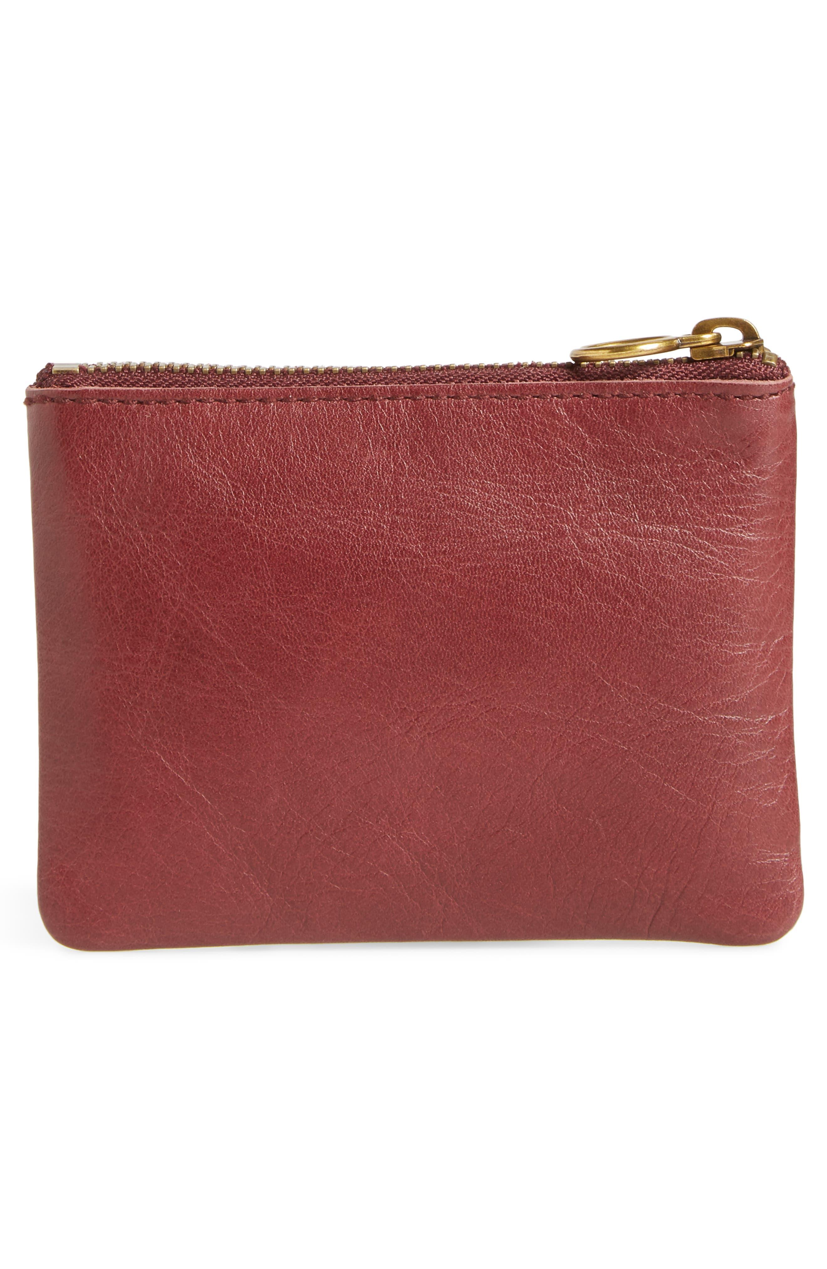 The Leather Pouch Wallet,                             Alternate thumbnail 4, color,                             DARK CABERNET