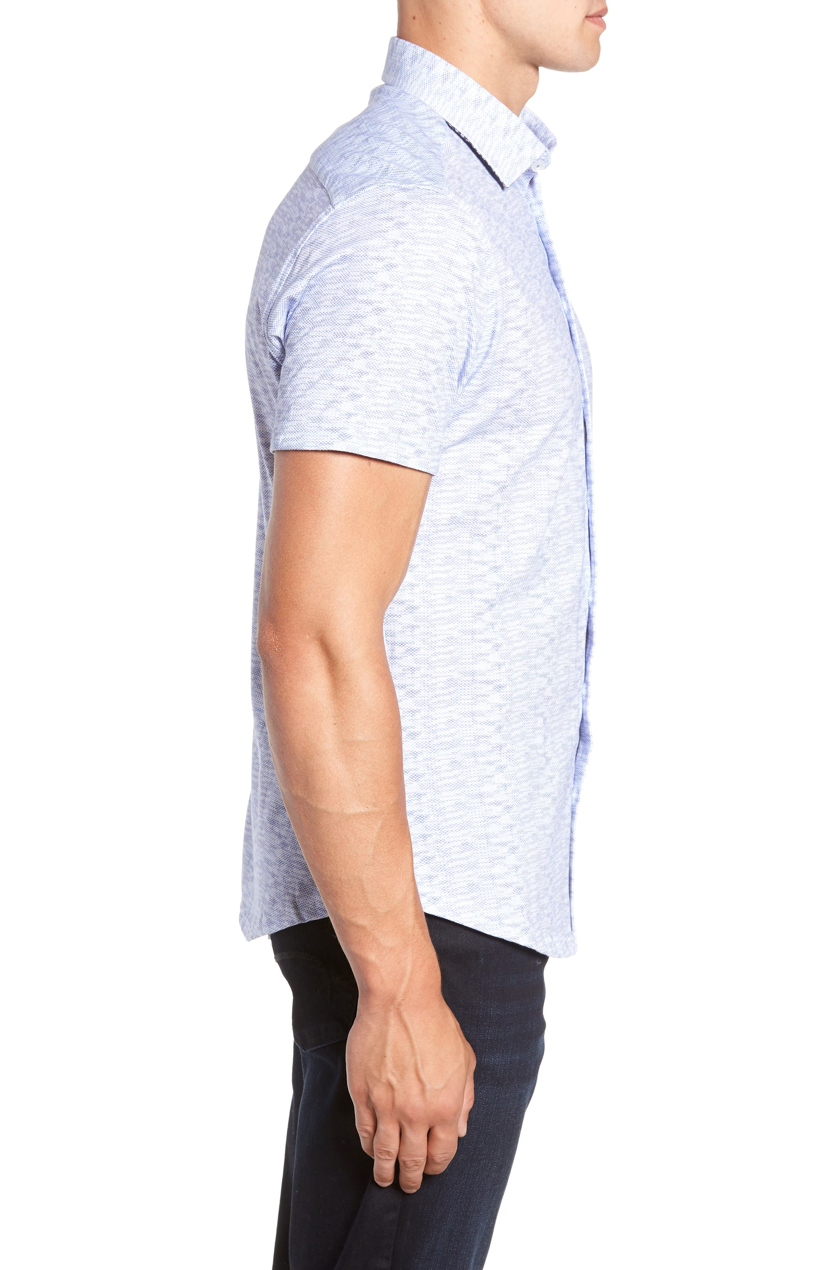 Heather Regular Fit Knit Sport Shirt,                             Alternate thumbnail 4, color,                             400