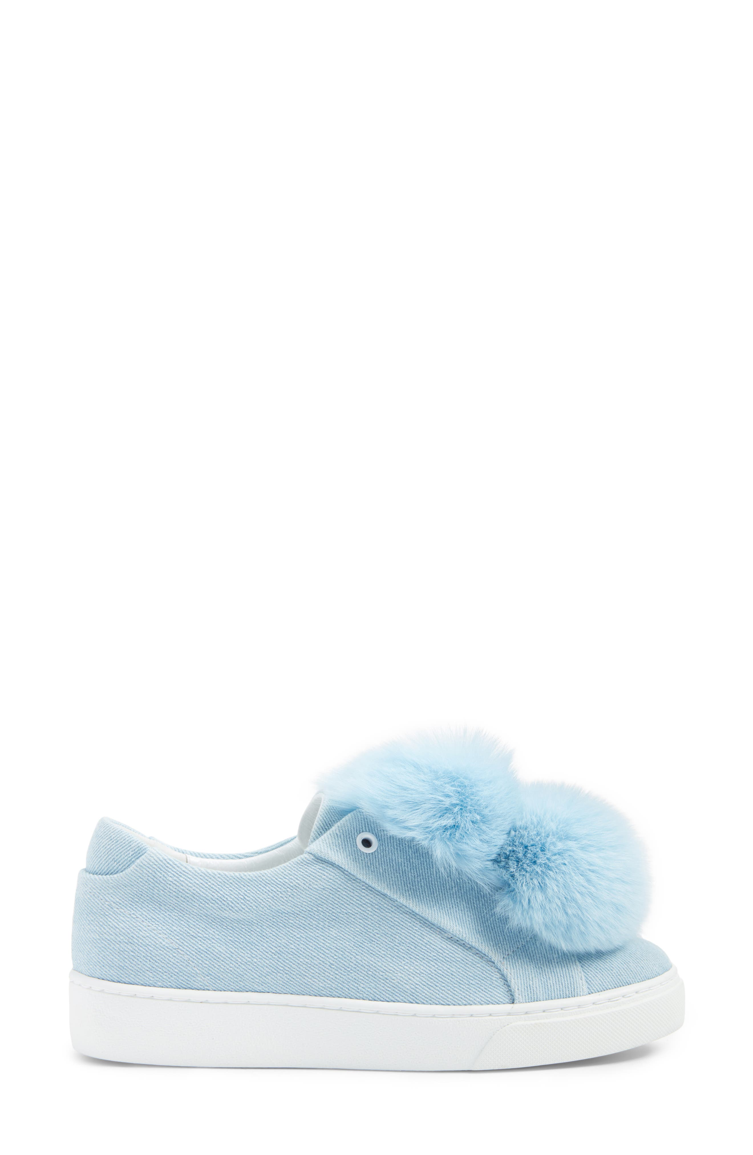 Stella Genuine Fox Fur Trim Platform Sneaker,                             Alternate thumbnail 3, color,                             400