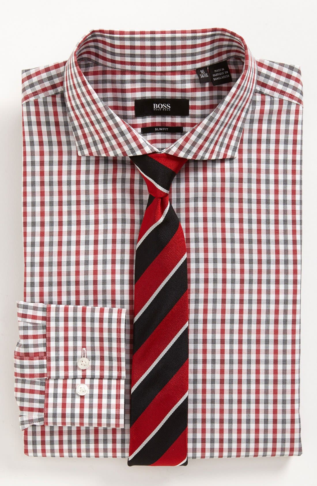 BOSS Black Dress Shirt & Tie, Main, color, 620