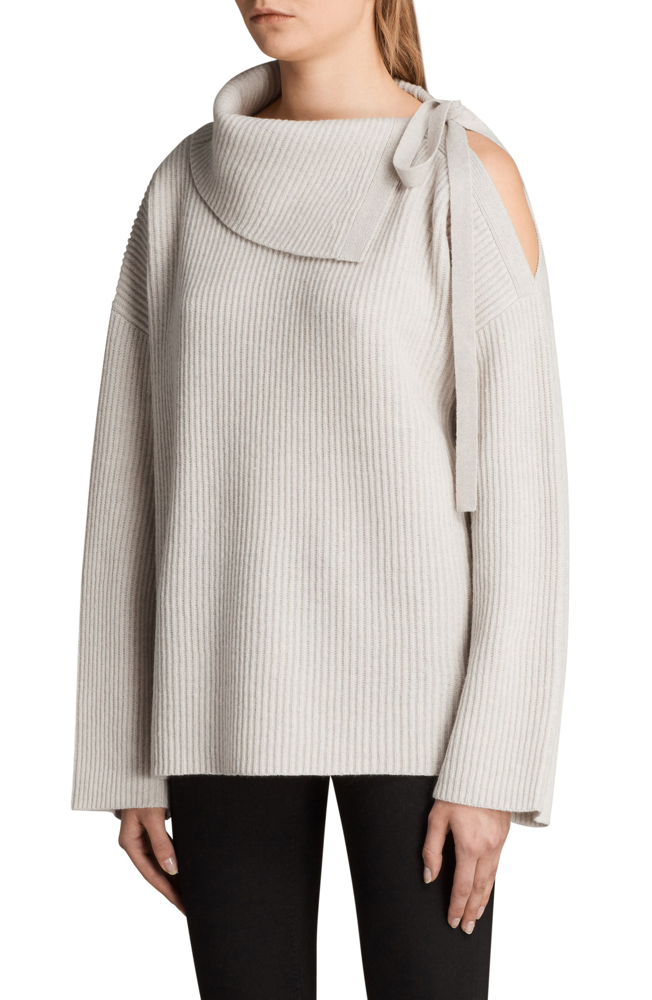 ALLSAINTS,                             Sura Tie Neck Sweater,                             Alternate thumbnail 3, color,                             252