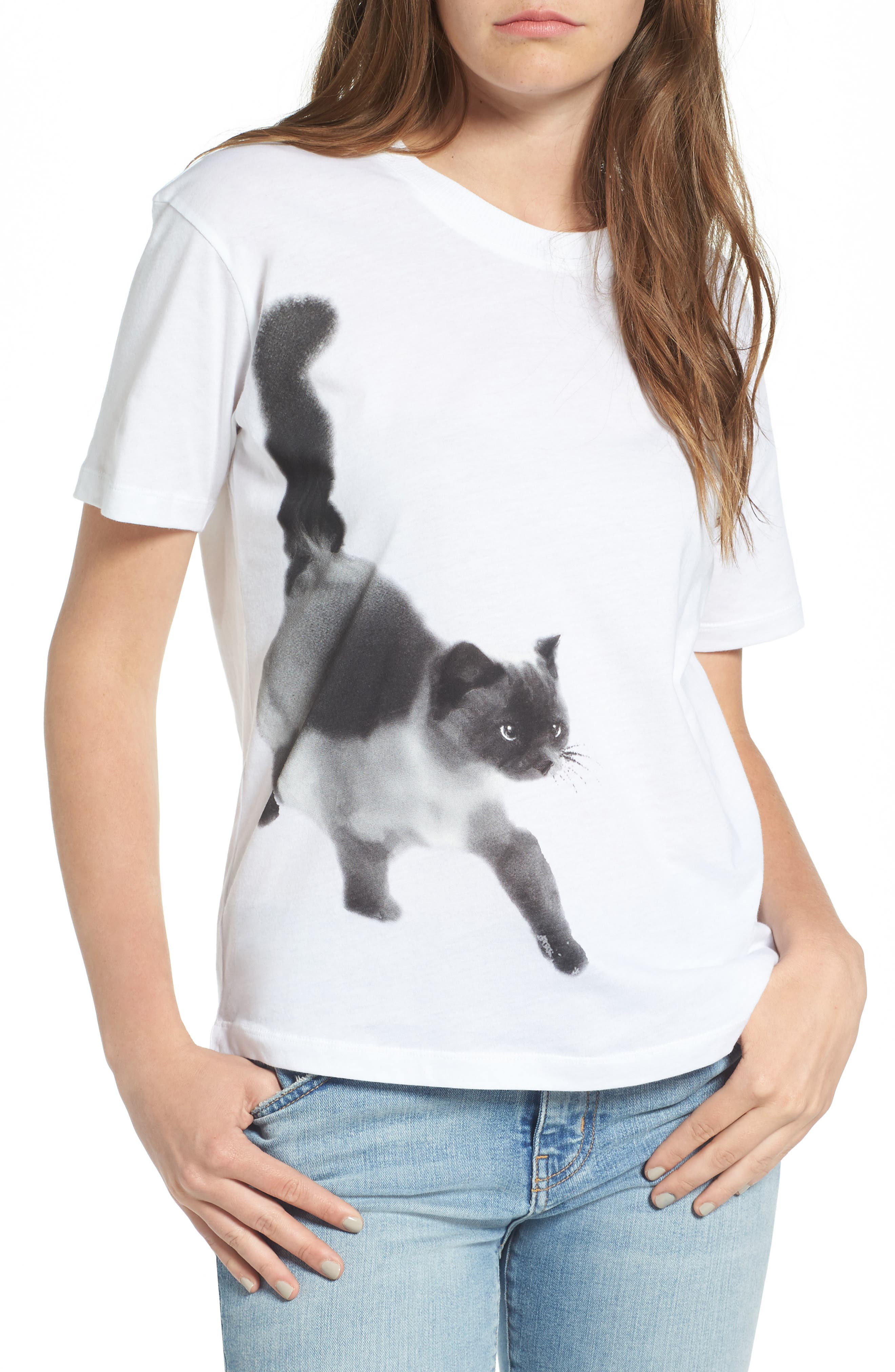 Cat Print Graphic Tee,                             Main thumbnail 2, color,