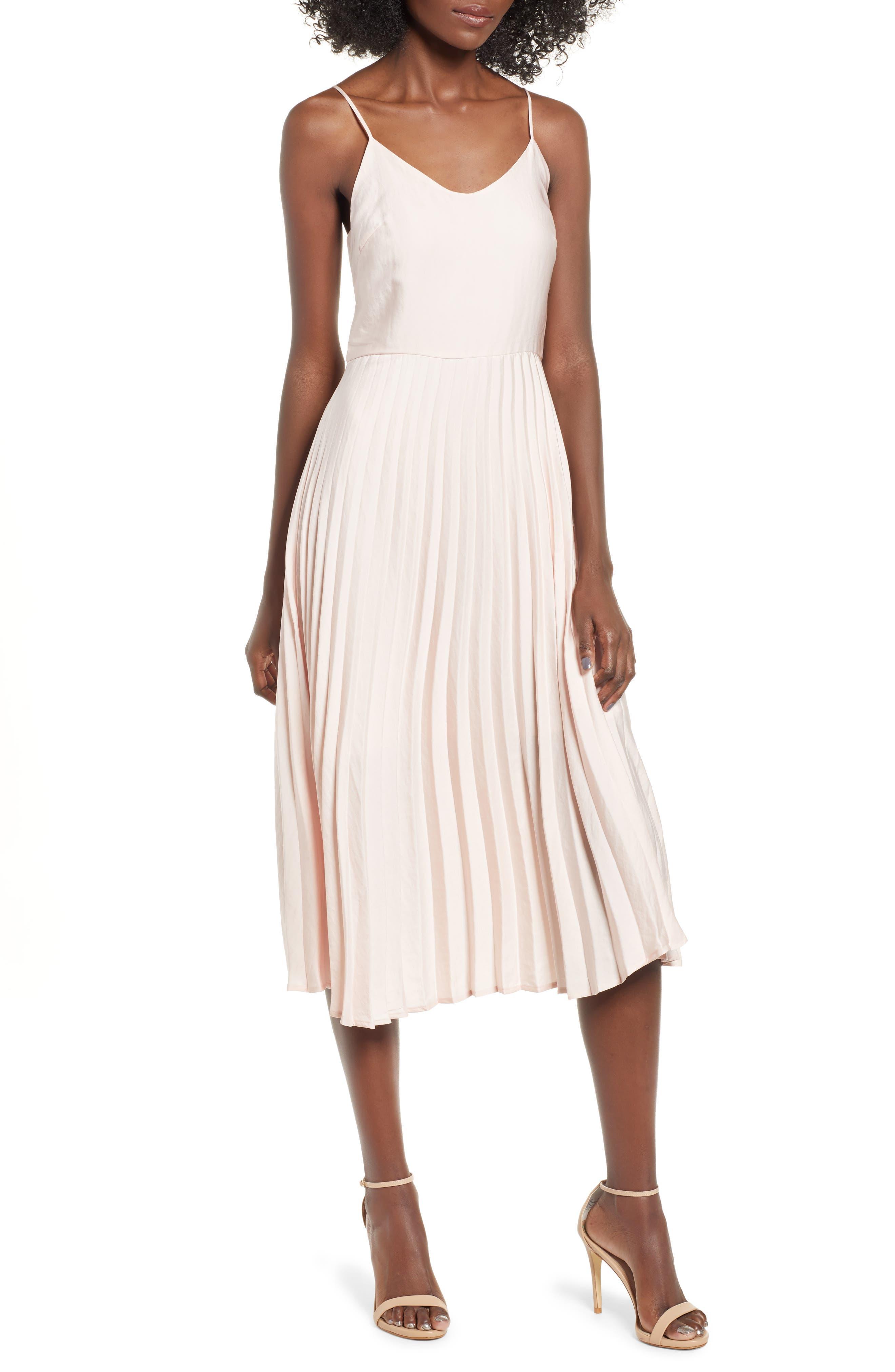 Pleated Midi Dress,                         Main,                         color, SPA PEACH