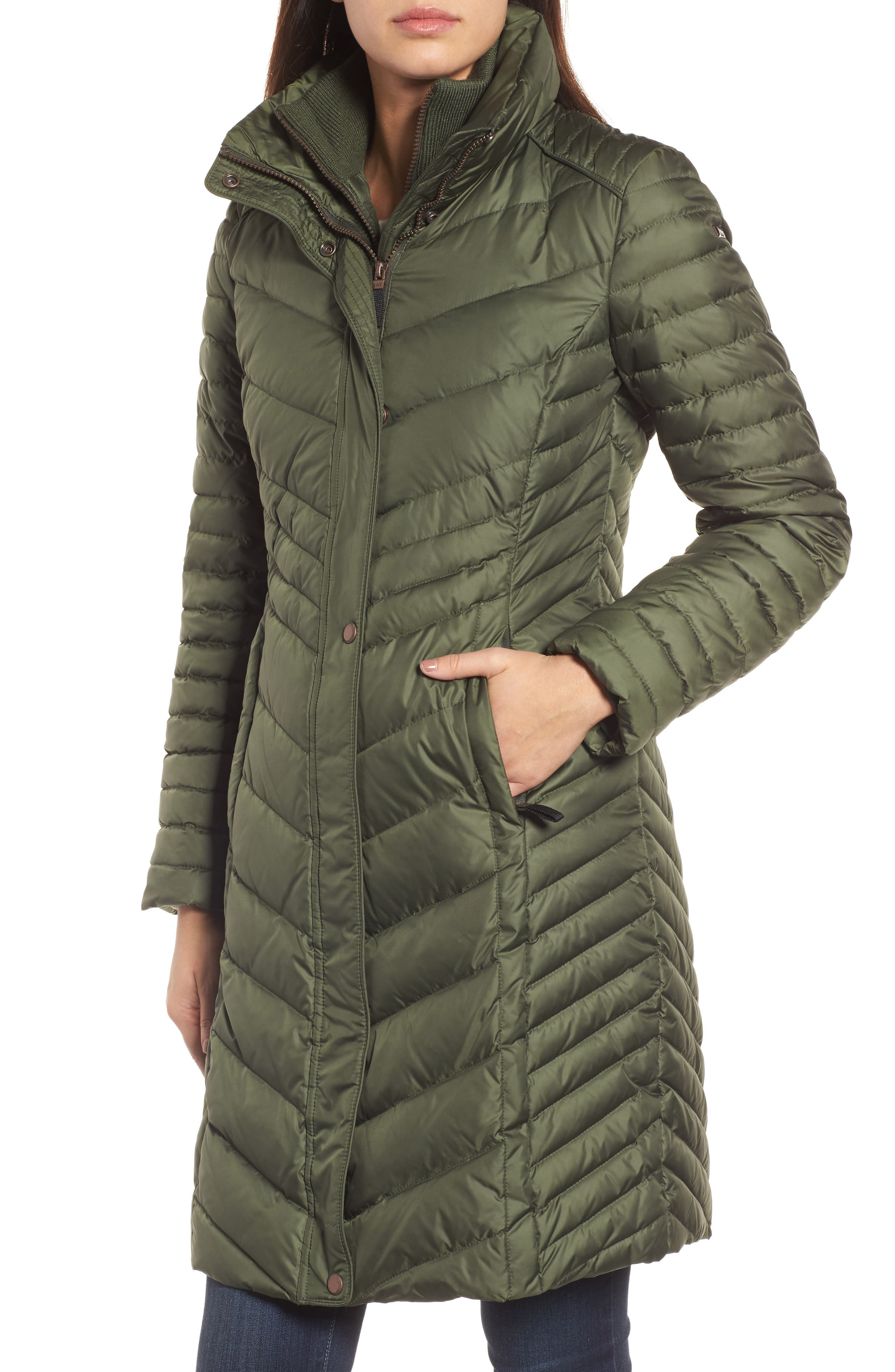 Chevron Quilted Coat with Genuine Coyote Fur Trim,                             Alternate thumbnail 11, color,